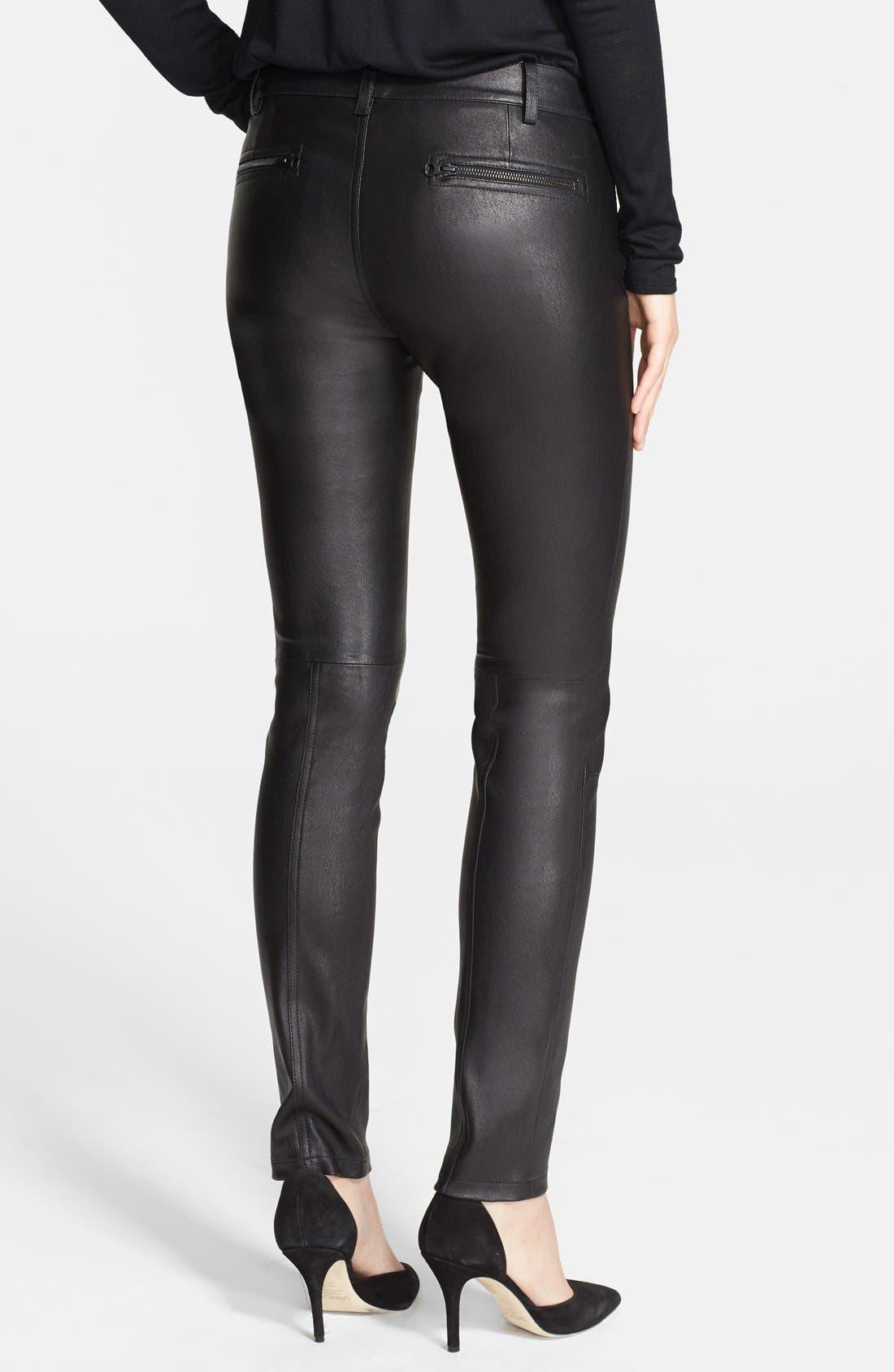 Alternate Image 2  - Vince Lambskin Leather Zip Detail Leggings