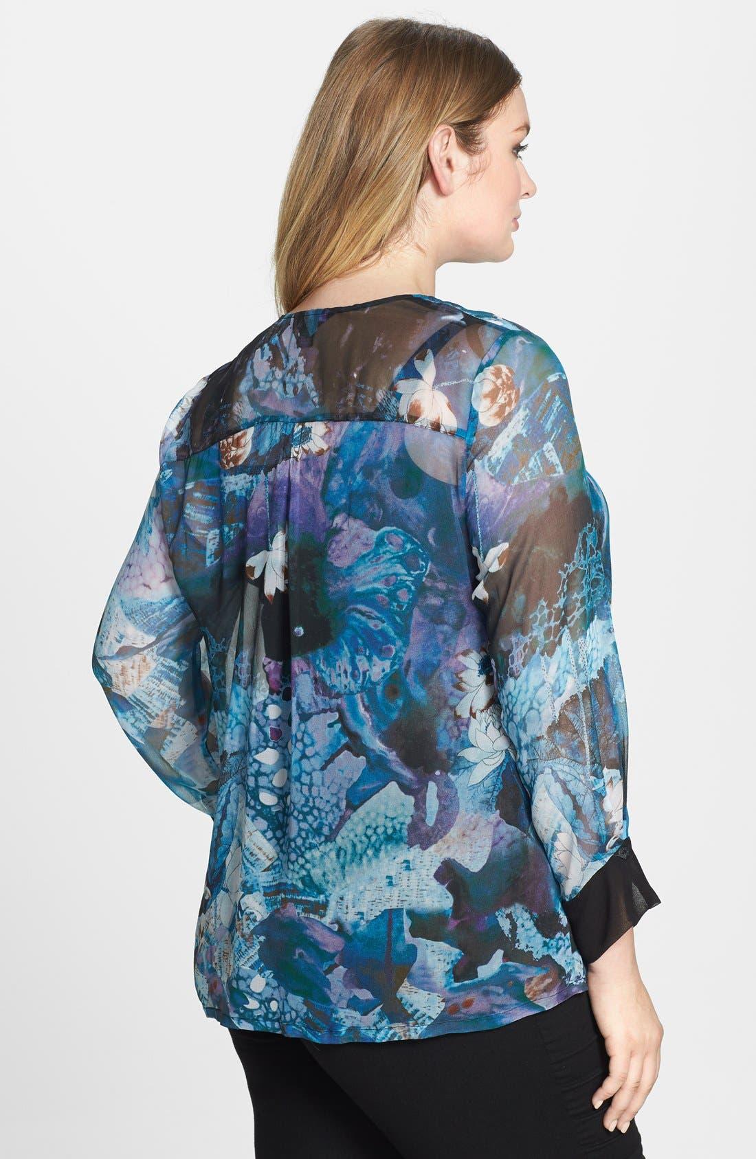 Alternate Image 2  - Citron Collarless Print Silk Georgette Blouse (Plus Size)
