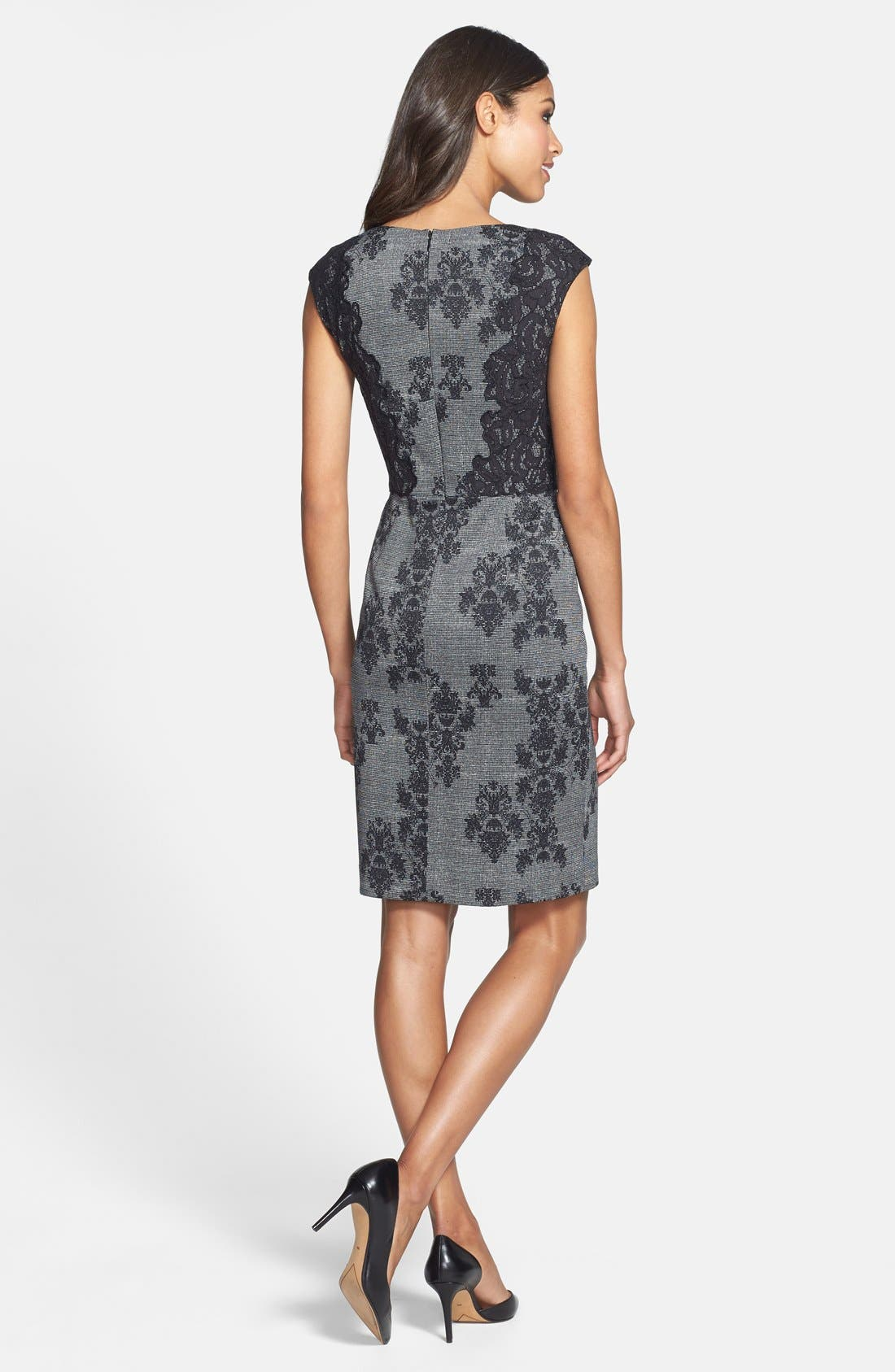 Alternate Image 2  - Adrianna Papell Placed & Print Lace Sheath Dress (Regular & Petite)