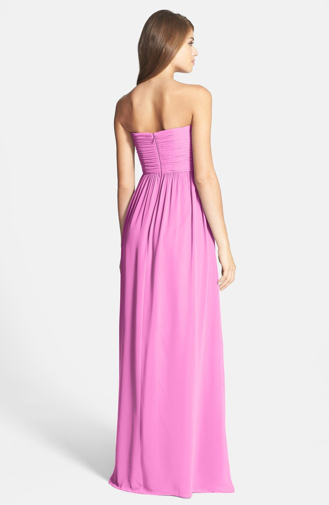 Alternate Image 2  - Donna Morgan 'Stephanie' Strapless Ruched Chiffon Gown