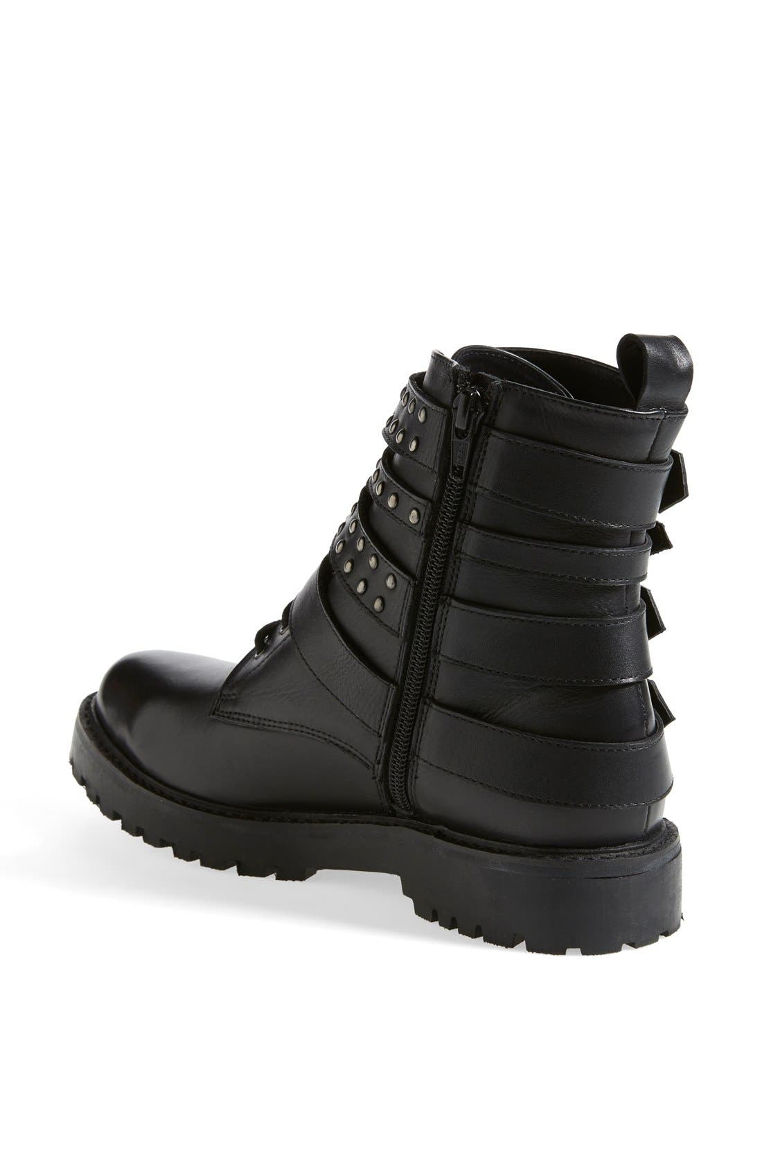 Alternate Image 2  - Topshop 'Apply' Lace-Up Biker Boot (Women)