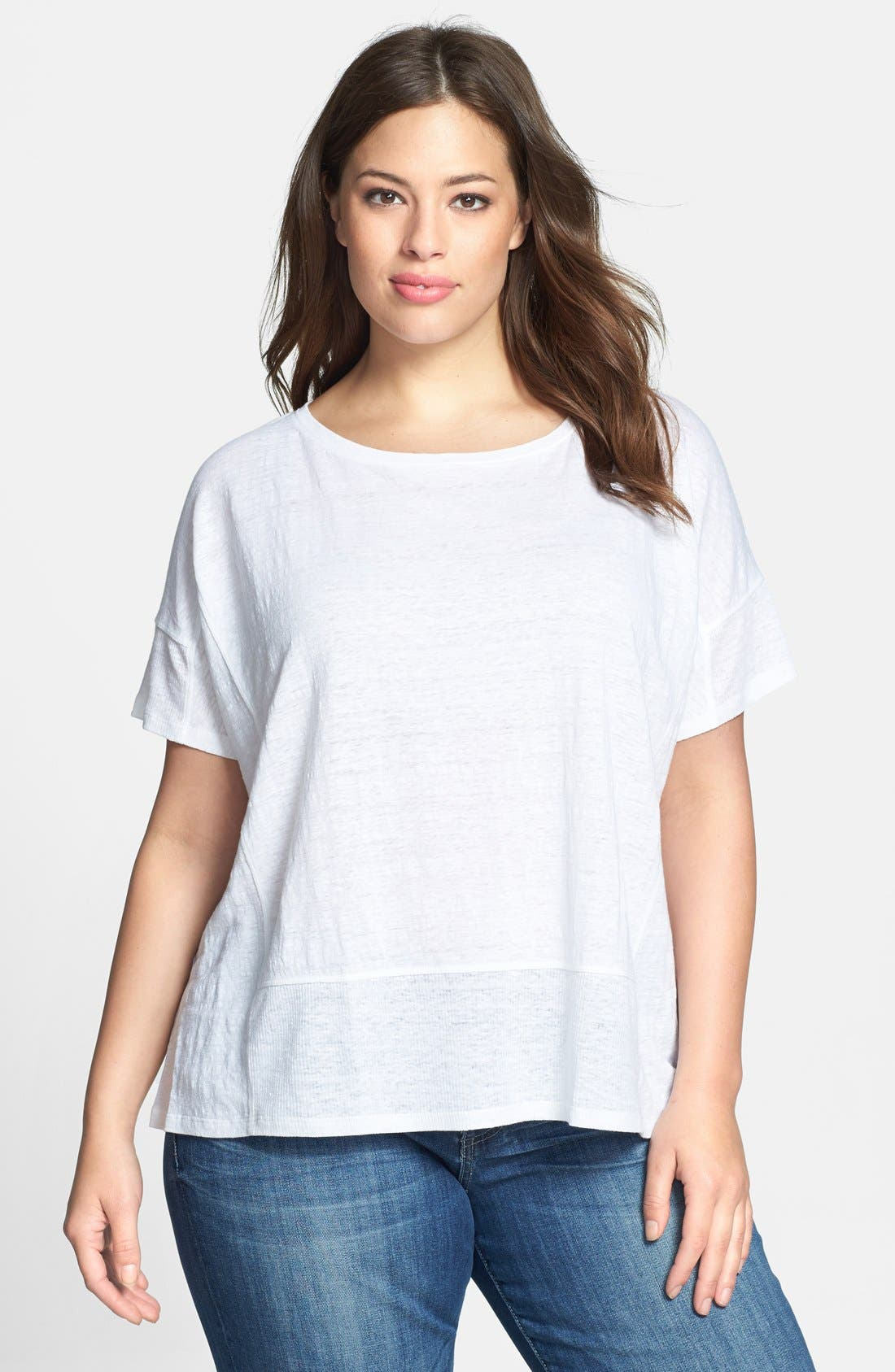 Main Image - Eileen Fisher Organic Linen Jersey Bateau Top (Plus Size)