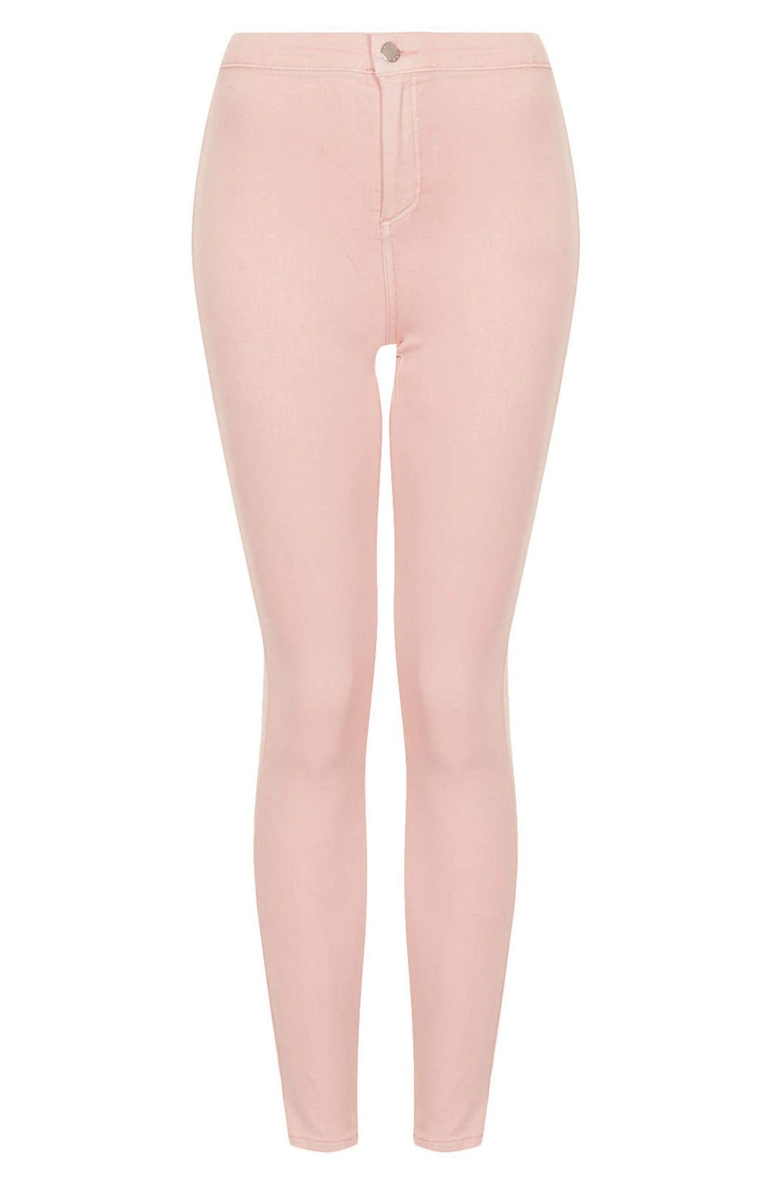 Alternate Image 3  - Topshop Moto 'Joni' High Waist Skinny Jeans (Light Pink)