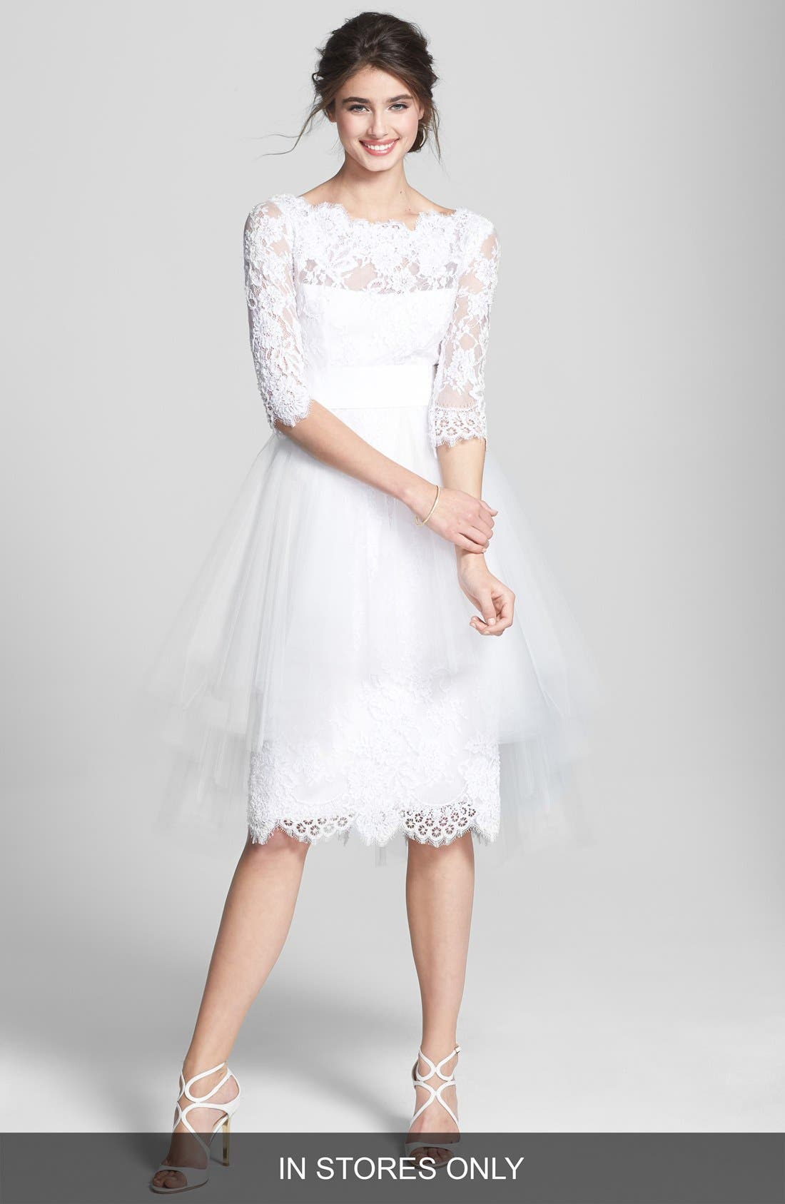 Main Image - Marchesa Tulle Overskirt Embroidered Lace Dress (In Stores Only)