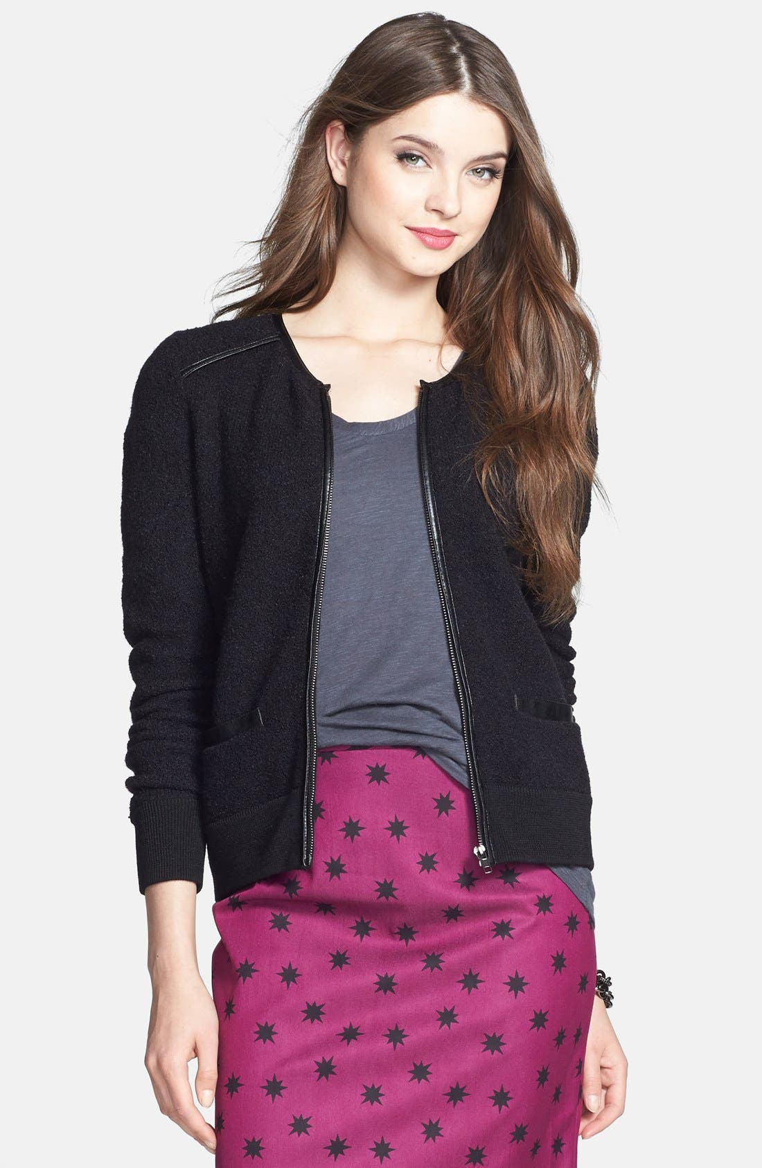 Alternate Image 1 Selected - Halogen® Front Zip Sweater Jacket (Regular & Petite)
