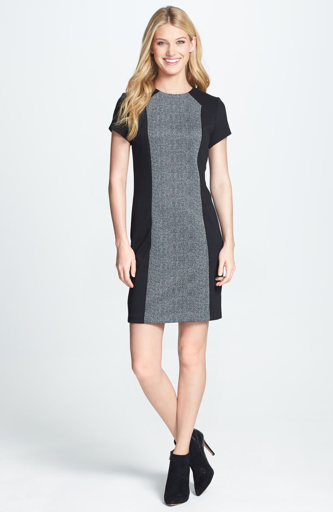Main Image - MICHAEL Michael Kors Colorblock Herringbone Print Dress