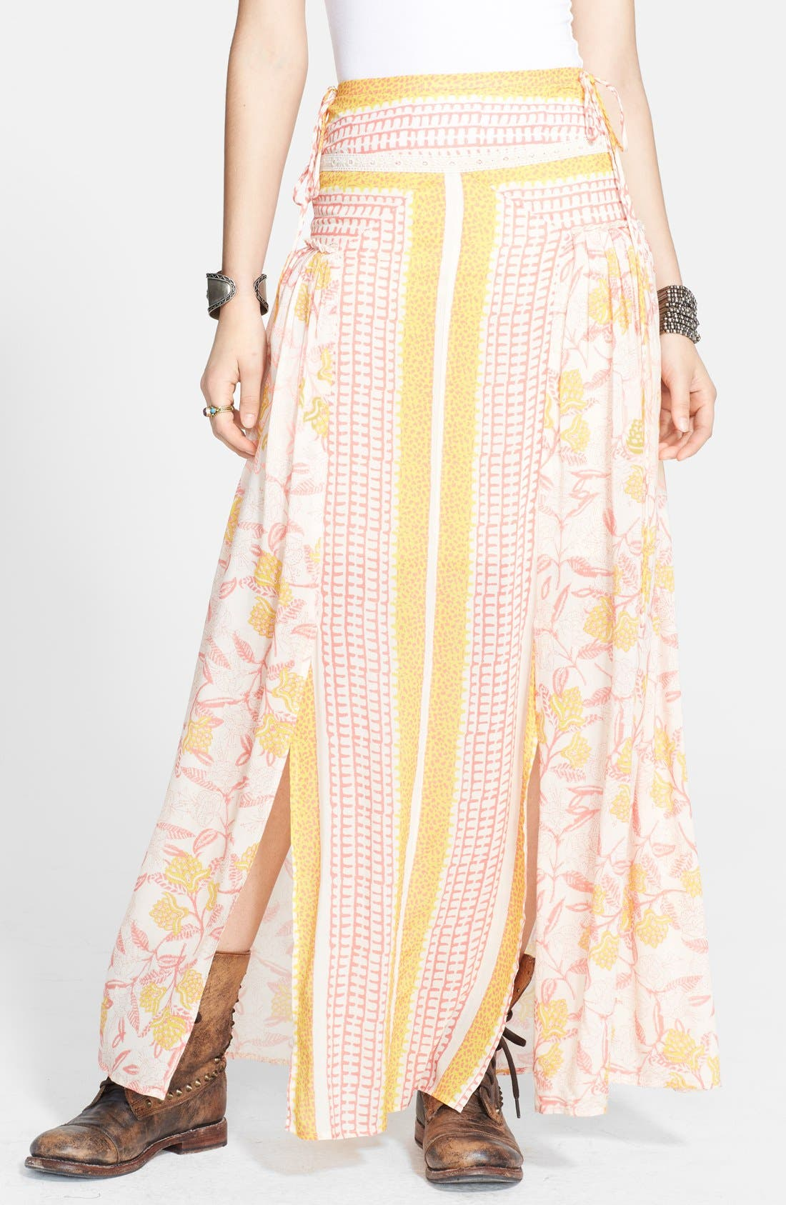 Alternate Image 1 Selected - Free People 'Squared Off' Front Slit Maxi Skirt