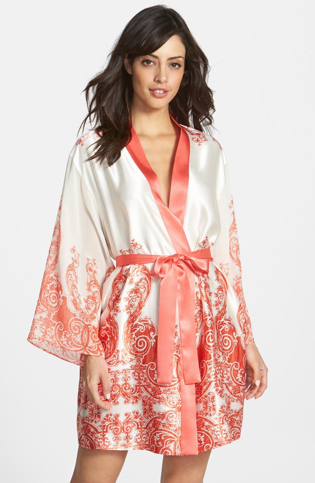 Alternate Image 1 Selected - Oscar de la Renta 'Vintage Trellis' Satin & Georgette Wrap Robe