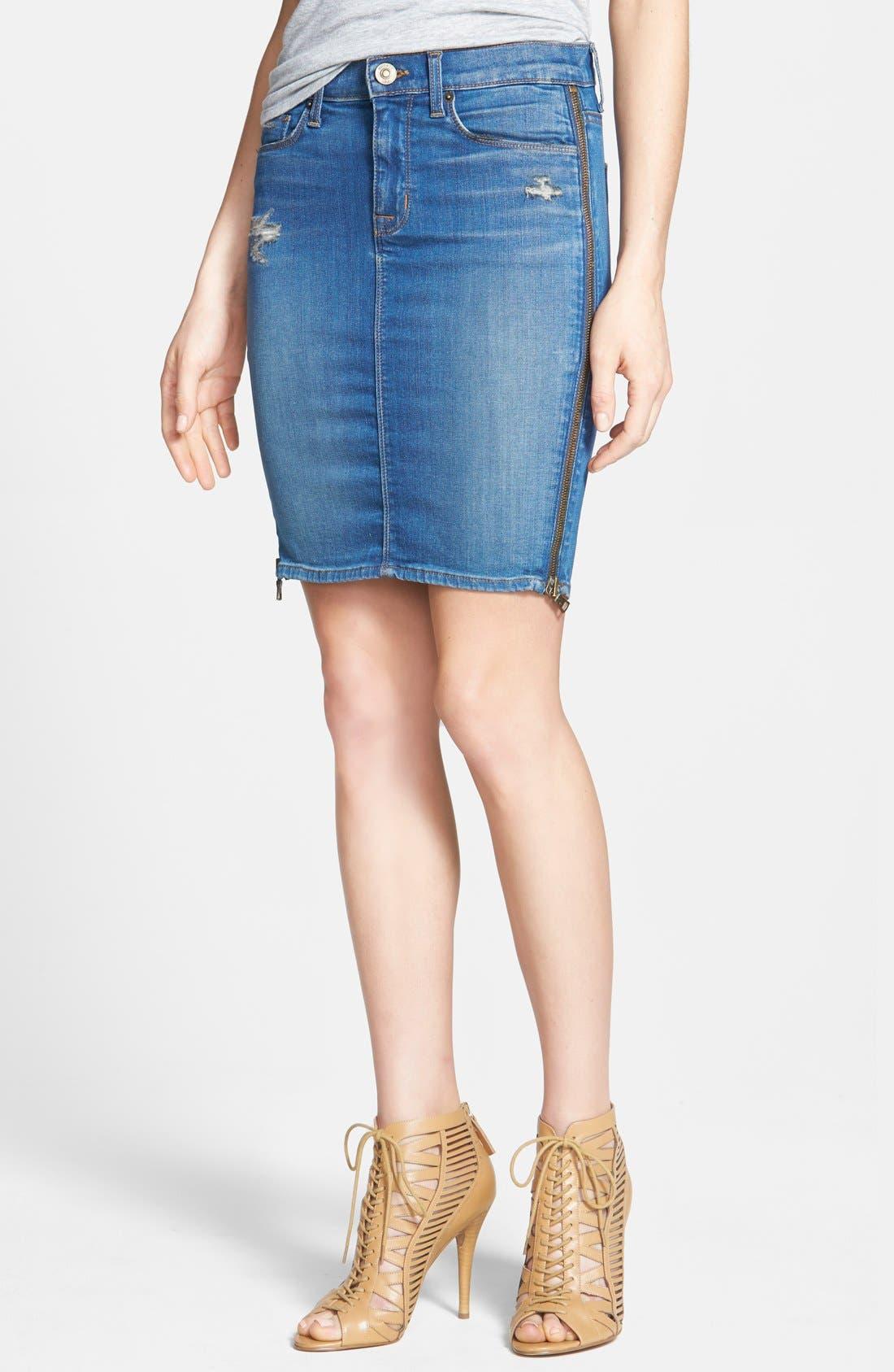 Alternate Image 1 Selected - Hudson Jeans Side Zip Denim Skirt
