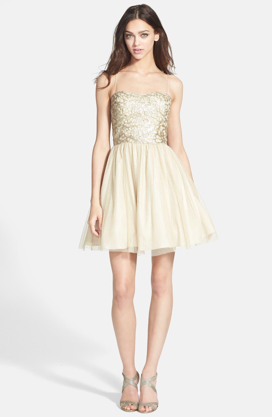 Alternate Image 3  - Aidan Mattox Embellished Tulle Fit & Flare Dress