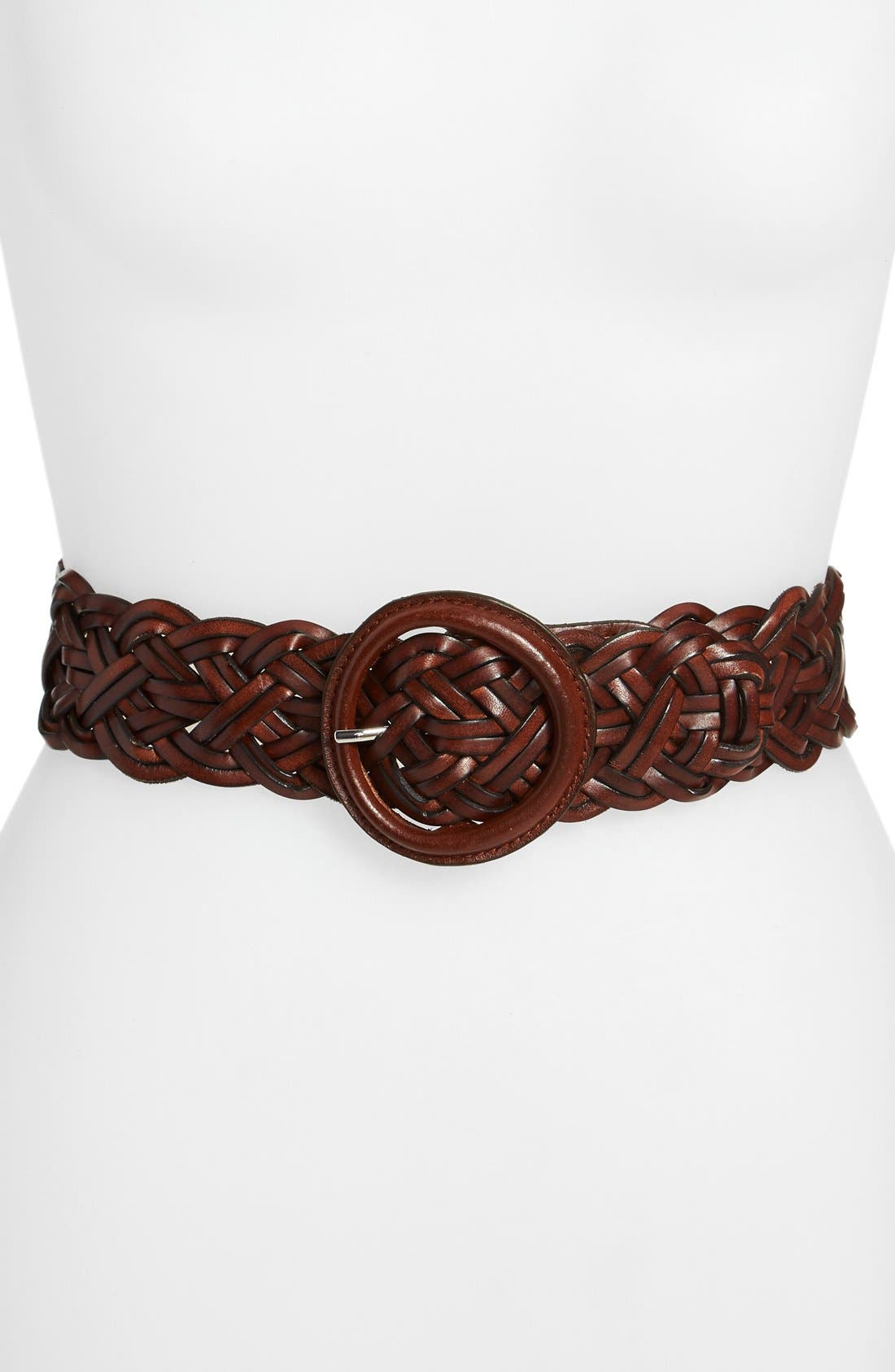 Alternate Image 1 Selected - Lauren Ralph Lauren Braided Leather Belt