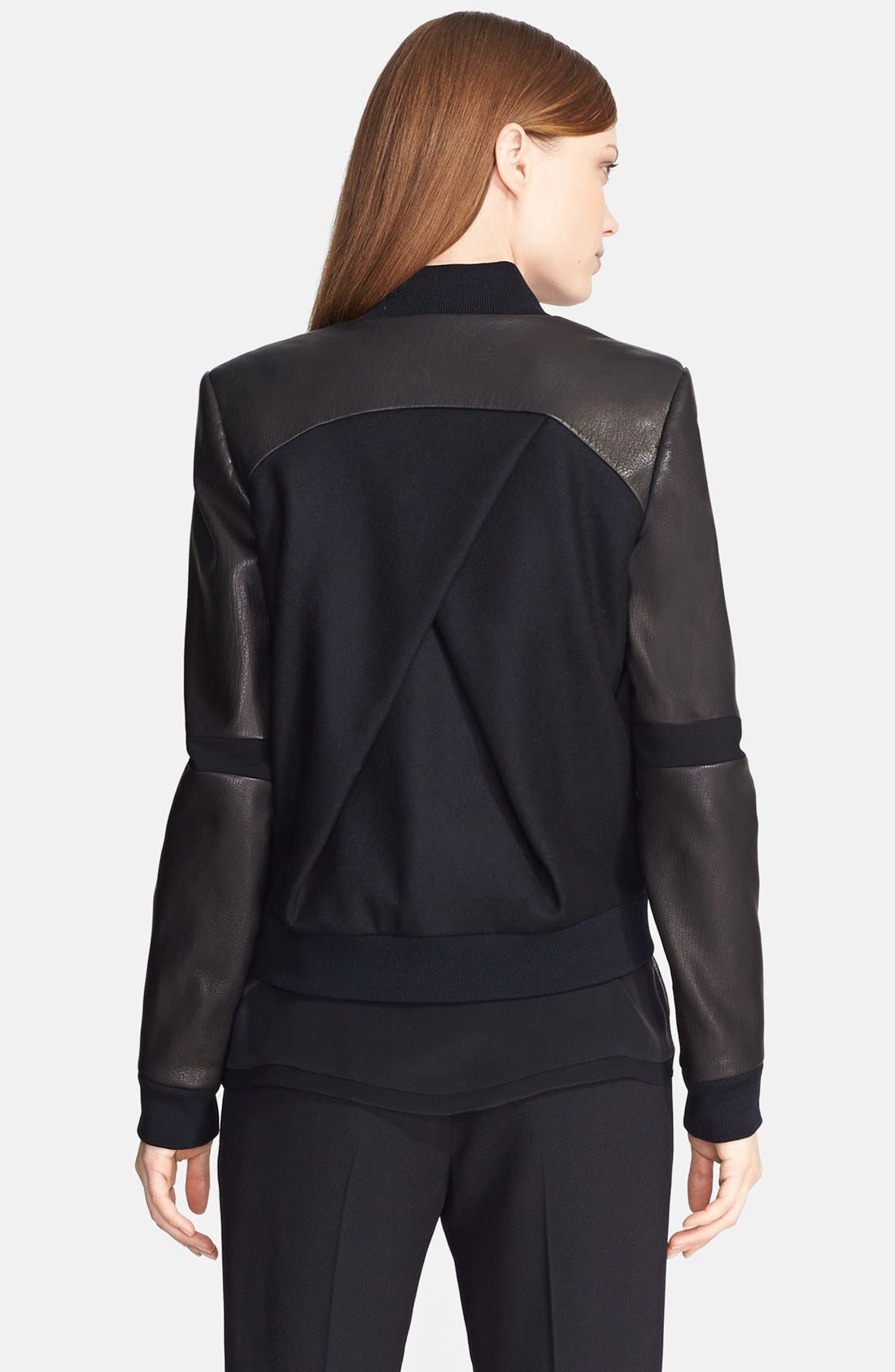 Alternate Image 2  - Prabal Gurung Leather Sleeve Bomber Jacket