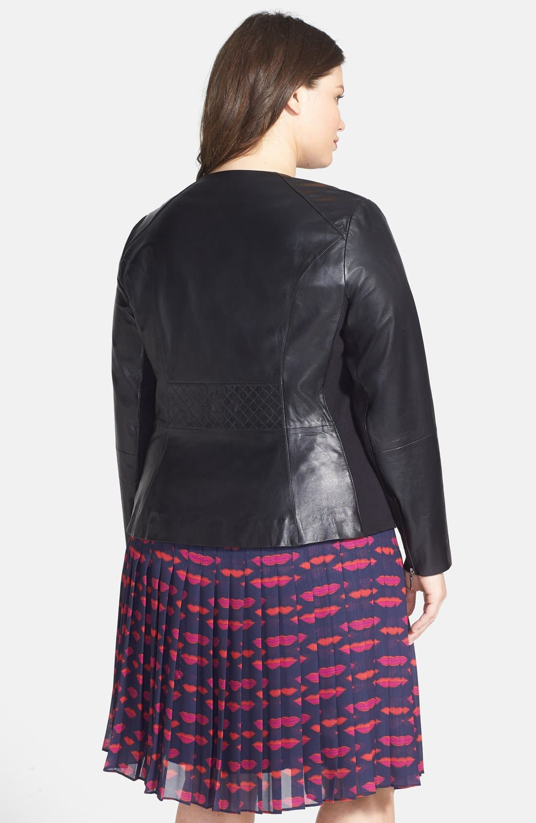 Alternate Image 2  - Sejour Quilted Leather Peplum Jacket (Plus Size)