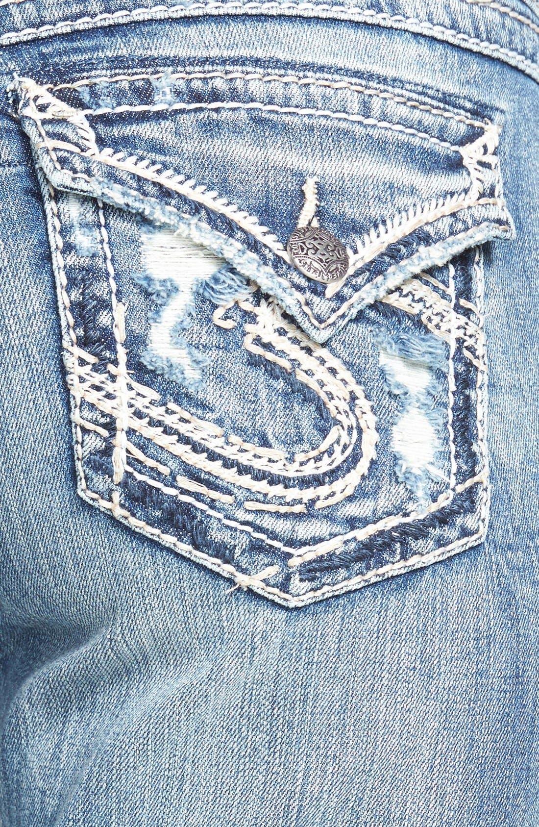 Alternate Image 3  - Silver Jeans Co. 'Suki' Distressed Flap Pocket Slim Bootcut Jeans (Indigo)