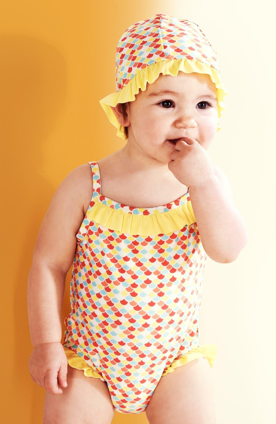 Alternate Image 2  - Tucker + Tate Ruffle One-Piece Swimsuit & Hat (Baby Girls)