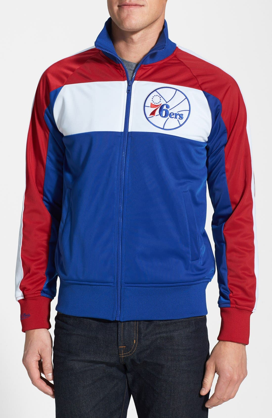 Main Image - Mitchell & Ness 'Philadelphia 76ers - Home Stand' Tailored Fit Track Jacket