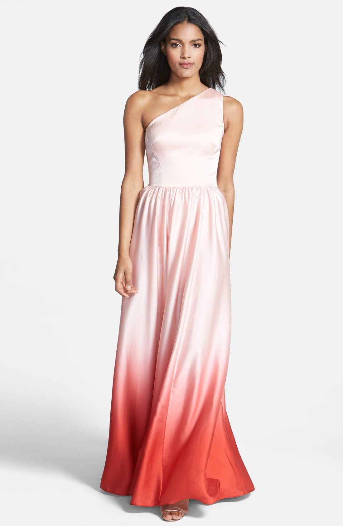 Main Image - Ted Baker London Single Shoulder Ombré Maxi Dress