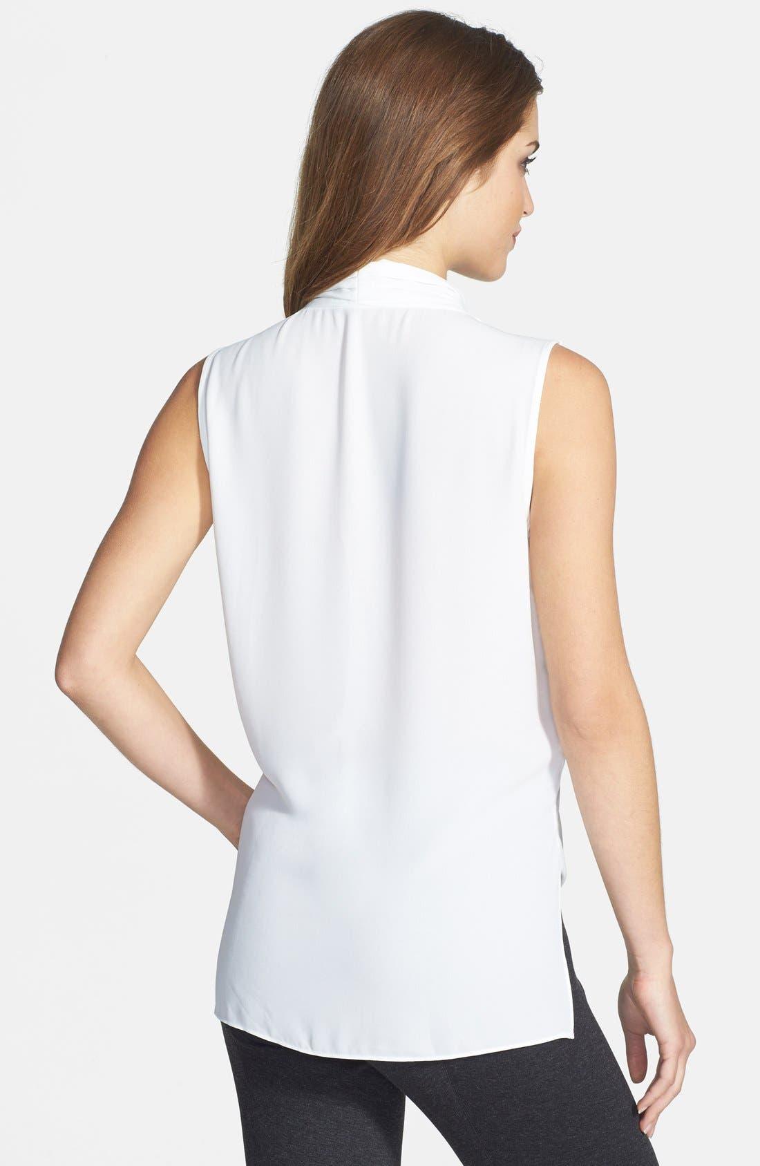 Alternate Image 2  - Vince Camuto Lace Inset Faux Wrap Front Shirttail Blouse