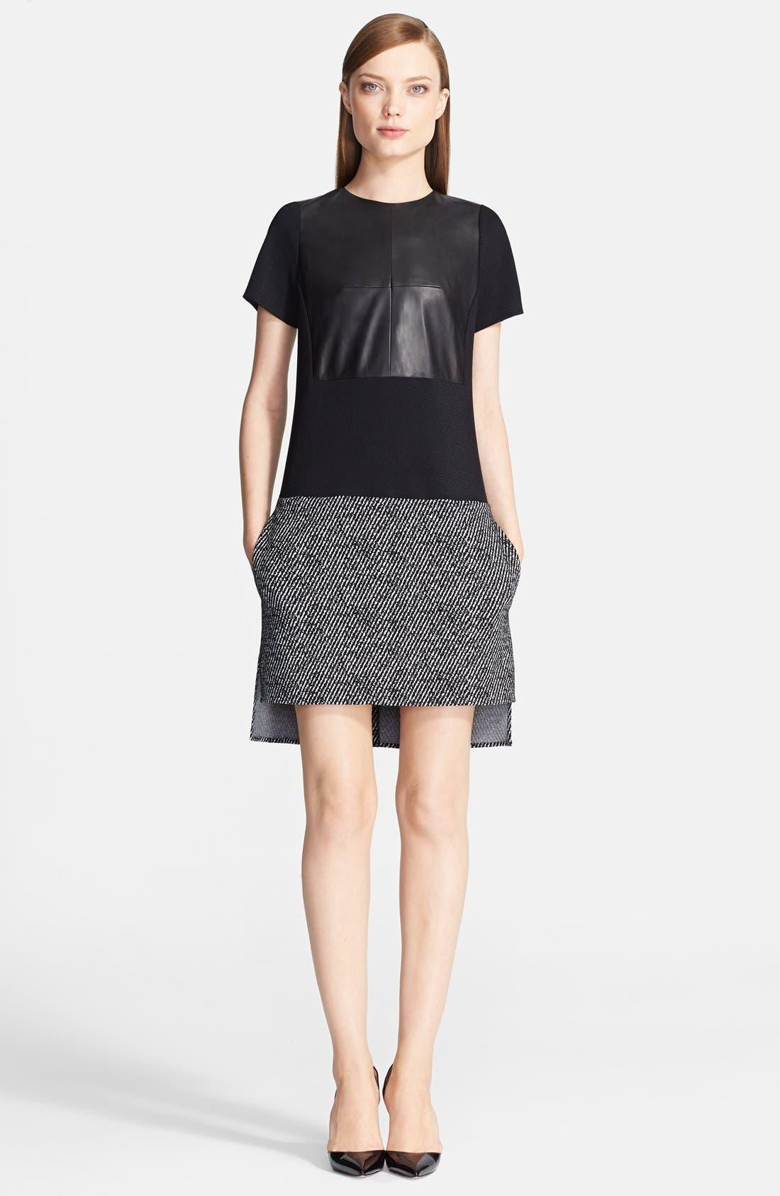 Main Image - Prabal Gurung Short Sleeve Leather Panel Knit Dress