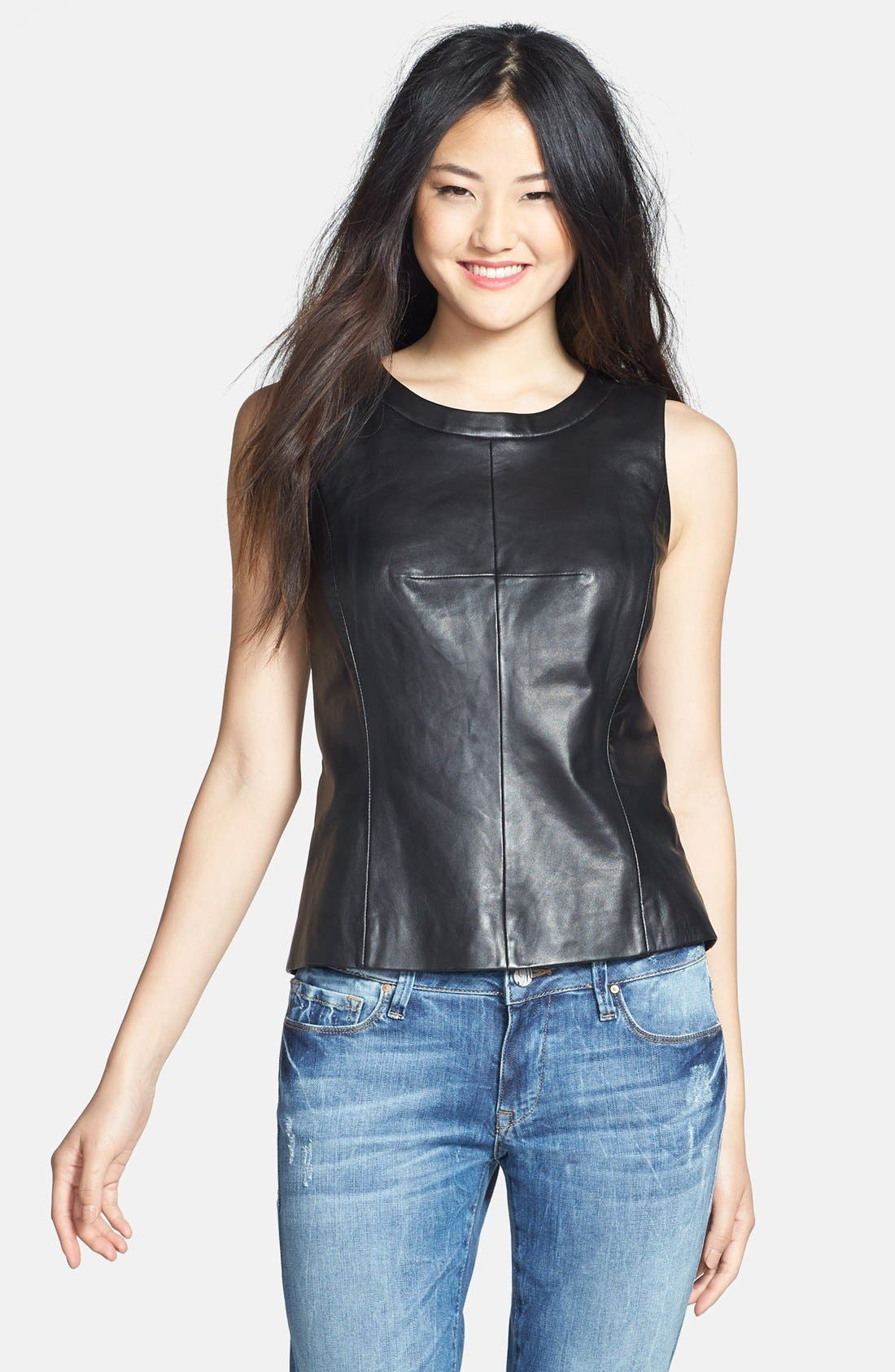 Alternate Image 1 Selected - Halogen® Leather Front Shell (Regular & Petite)