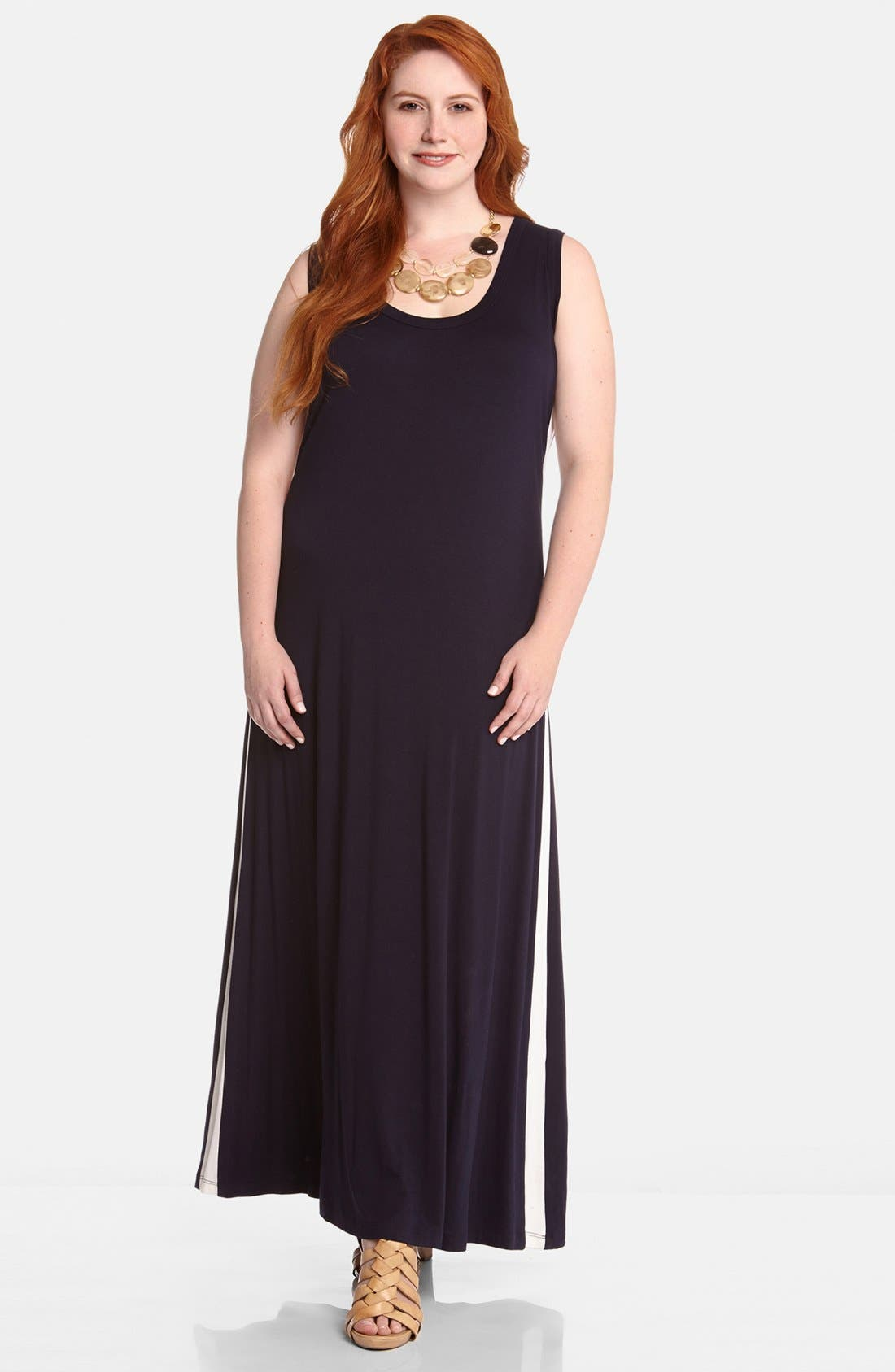 Alternate Image 1 Selected - Karen Kane Contrast Stripe Maxi Dress (Plus Size)