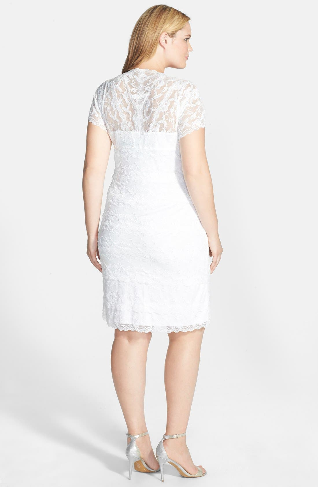 Alternate Image 2  - Marina Tiered Lace Dress (Plus Size)