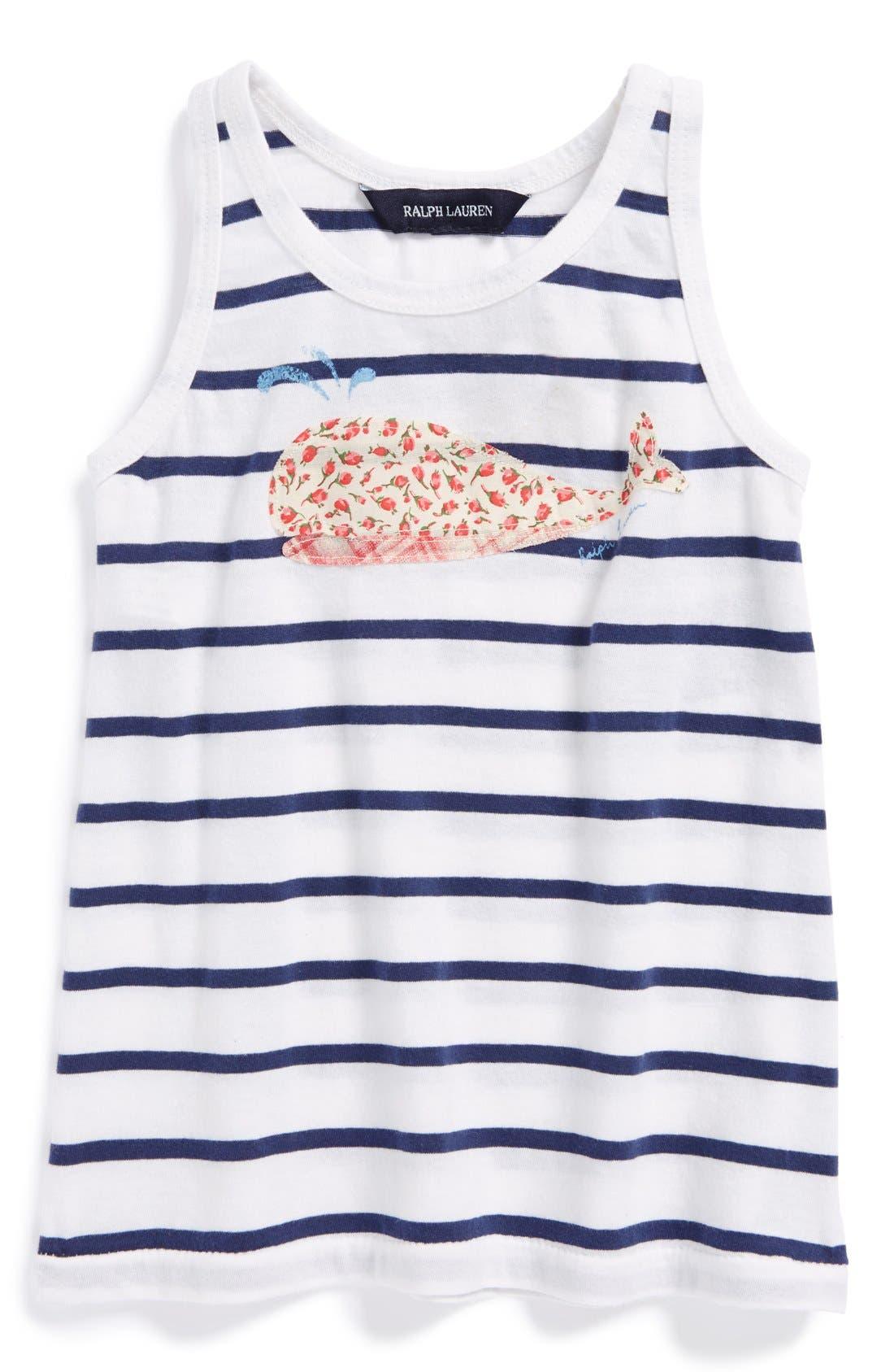 Main Image - Ralph Lauren Appliqué Logo Jersey Tank Top (Toddler Girls)
