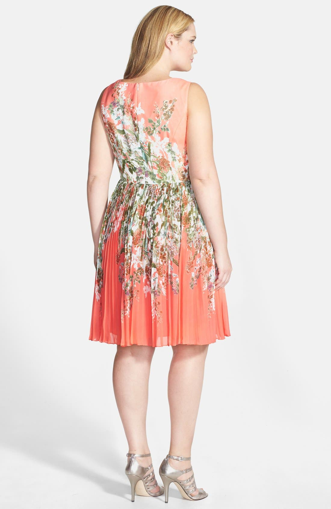 Alternate Image 2  - Adrianna Papell Floral Print Pleat Chiffon Fit & Flare Dress (Plus Size)
