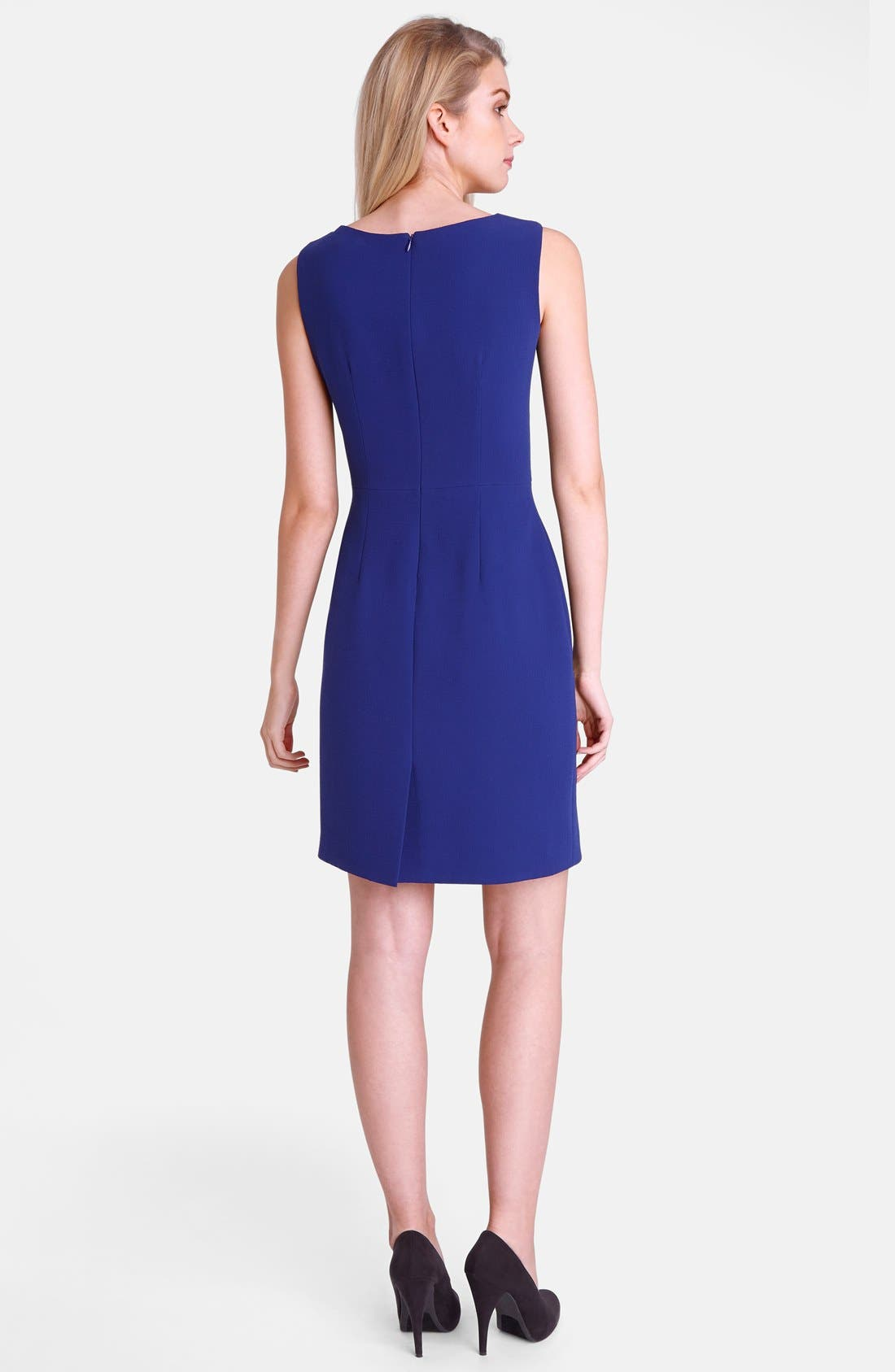 Alternate Image 2  - Tahari 'Mike' Pleated Neck Crepe Sheath Dress