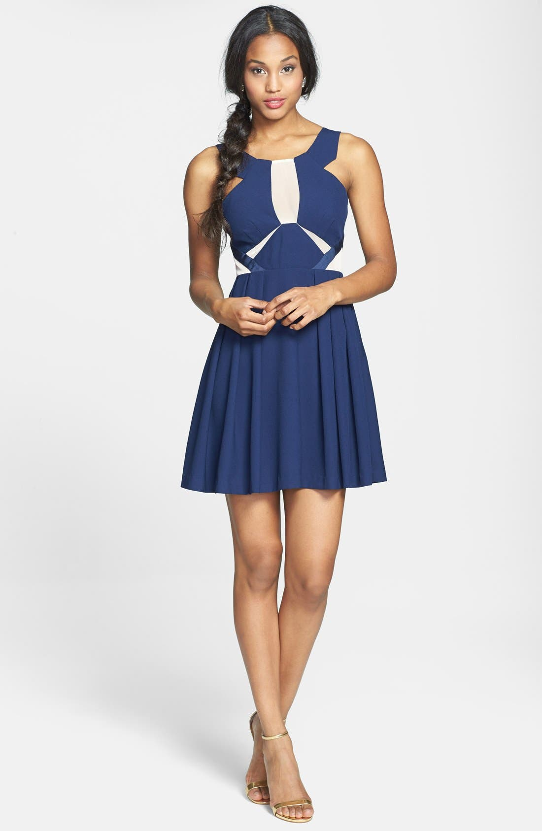 Alternate Image 3  - a. drea Mesh Inset Fit & Flare Dress (Juniors)