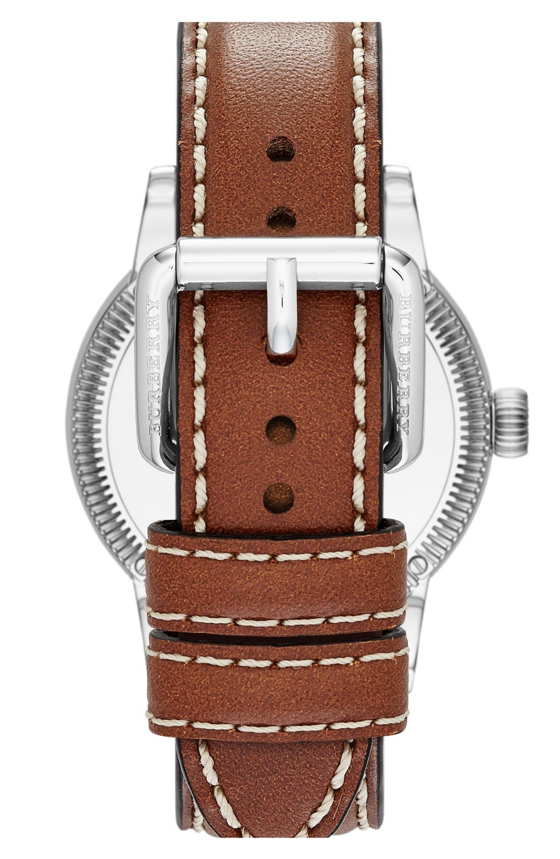 Alternate Image 2  - Burberry Round Leather Strap Watch, 38mm