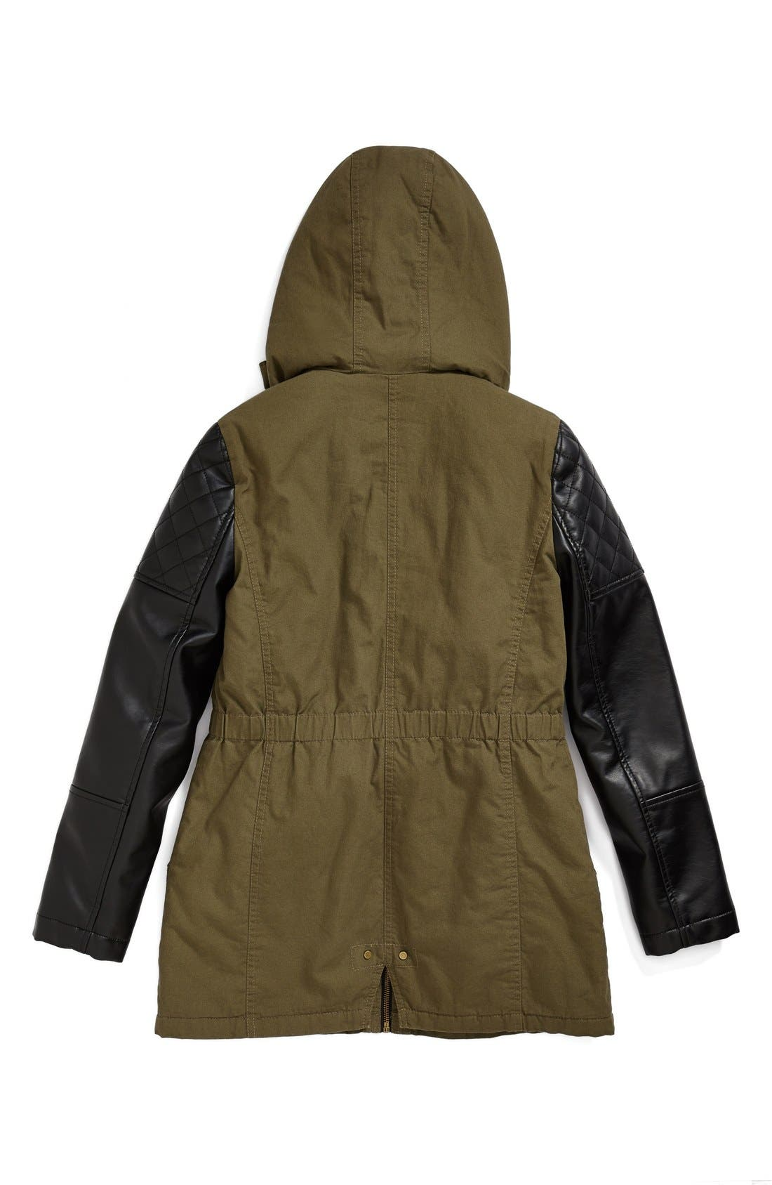 Alternate Image 2  - Collection B 'Samira' Cotton Zip Front Parka (Big Girls)