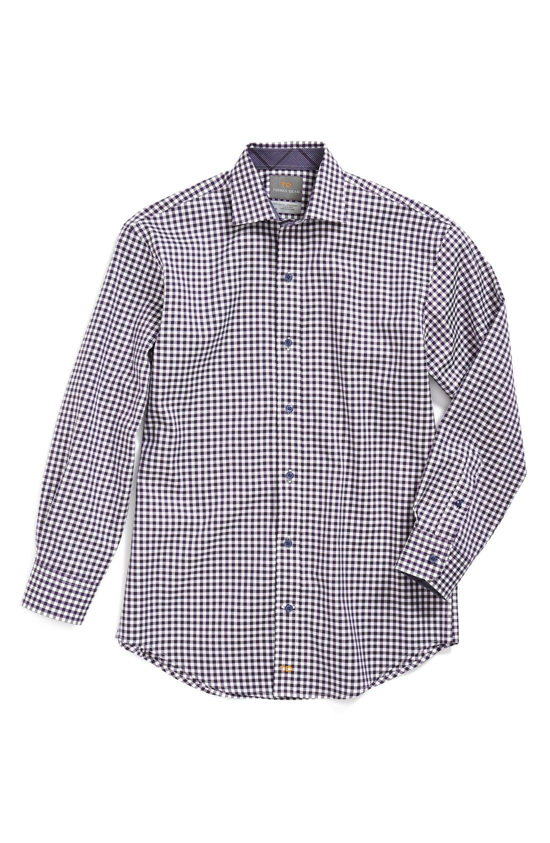 Alternate Image 1 Selected - Thomas Dean Gingham Dress Shirt (Big Boys)