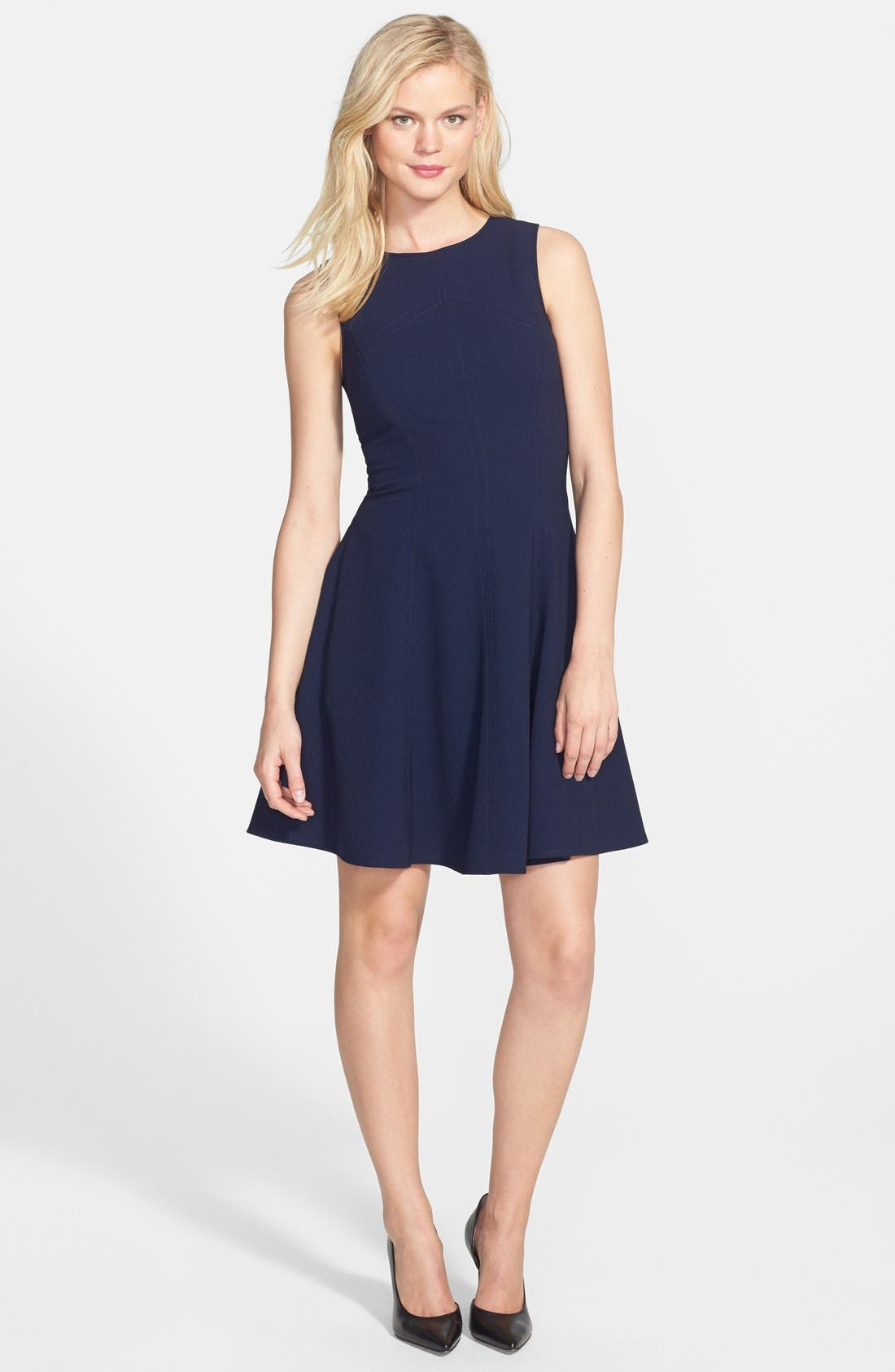 Alternate Image 3  - Eliza J Seamed Double Crepe Fit & Flare Dress