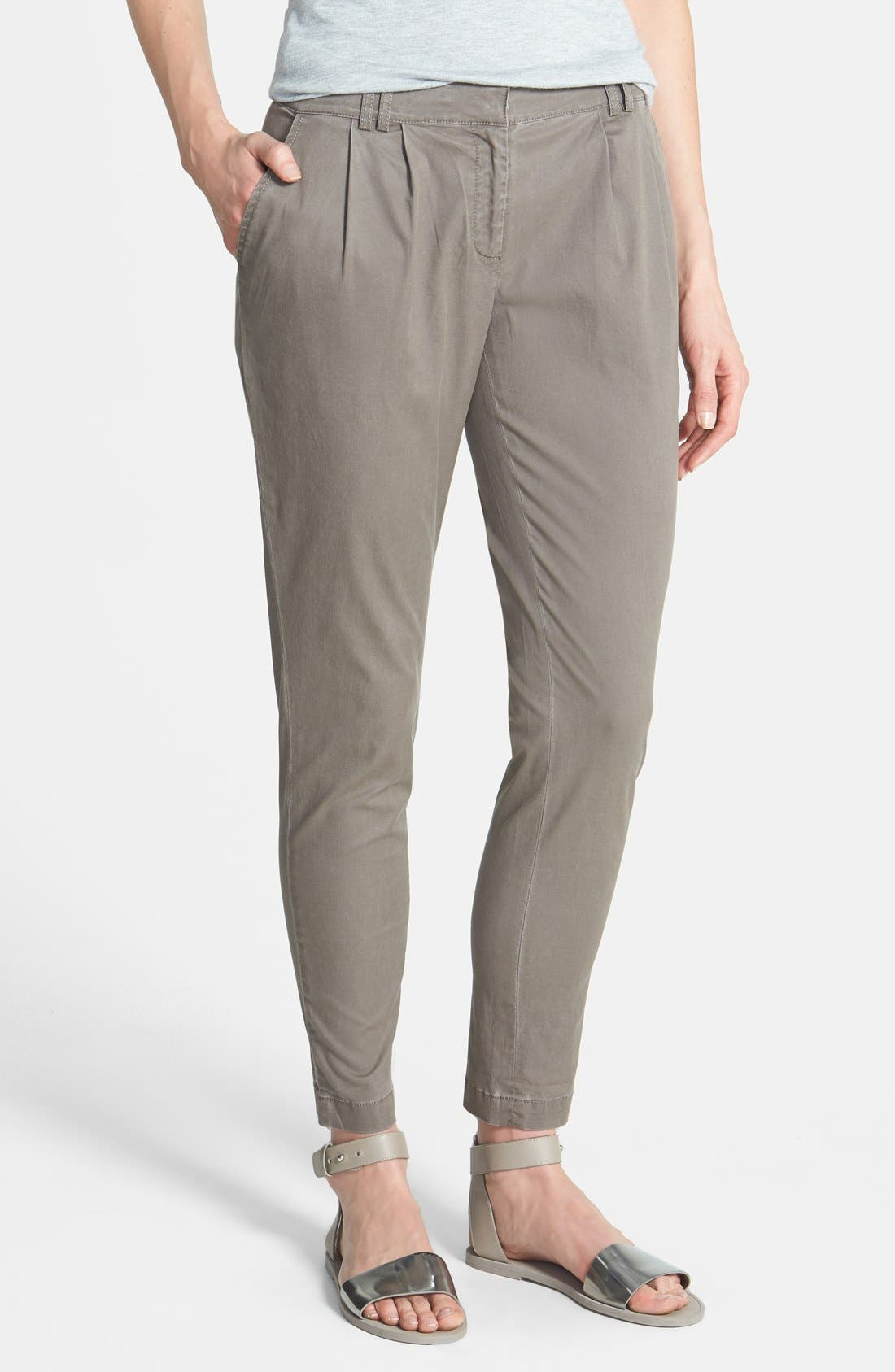 Alternate Image 1 Selected - Eileen Fisher Twill Ankle Trousers