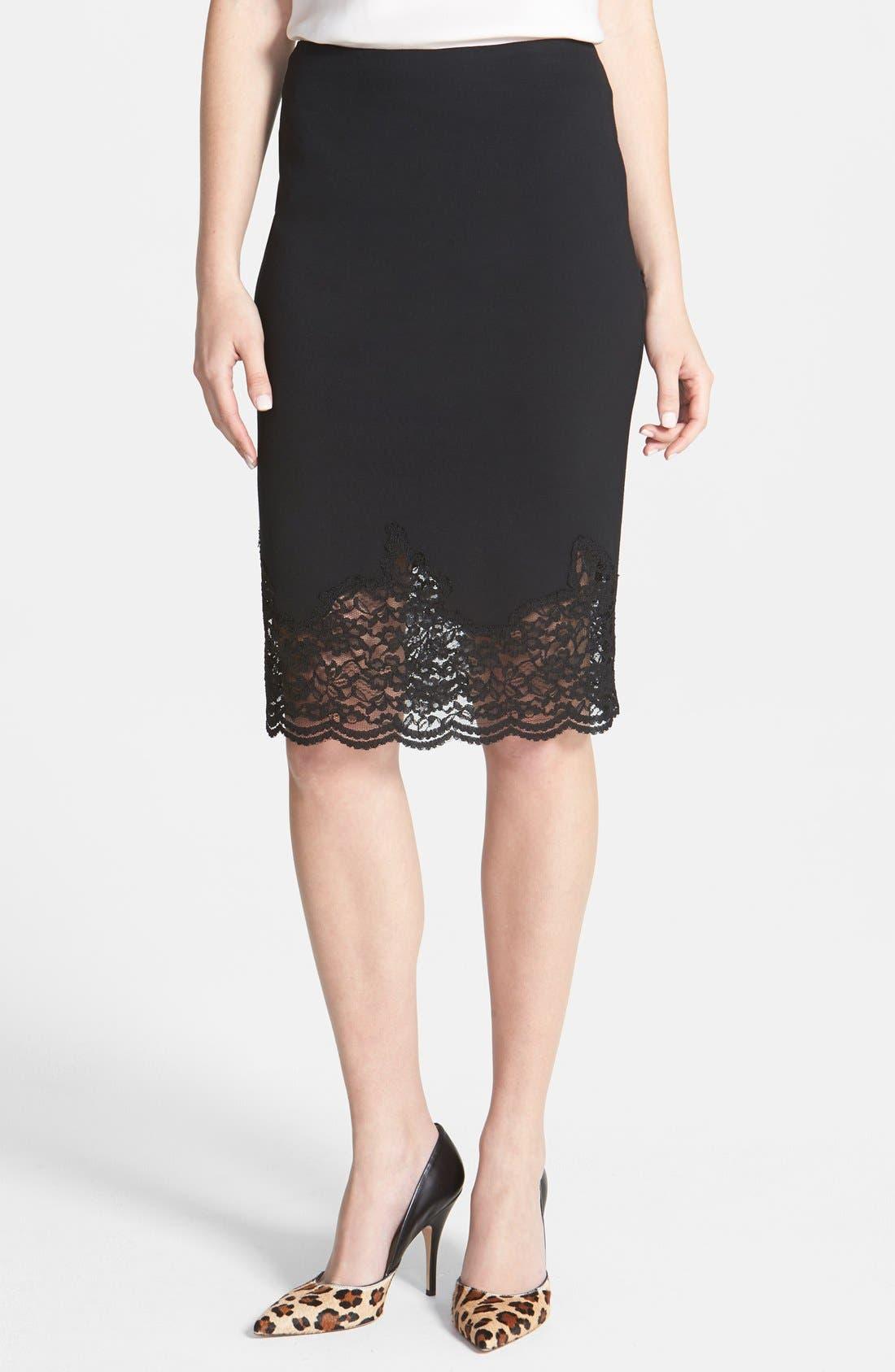 Alternate Image 1 Selected - Vince Camuto Lace Hem Stretch Ponte Pencil Skirt (Regular & Petite)