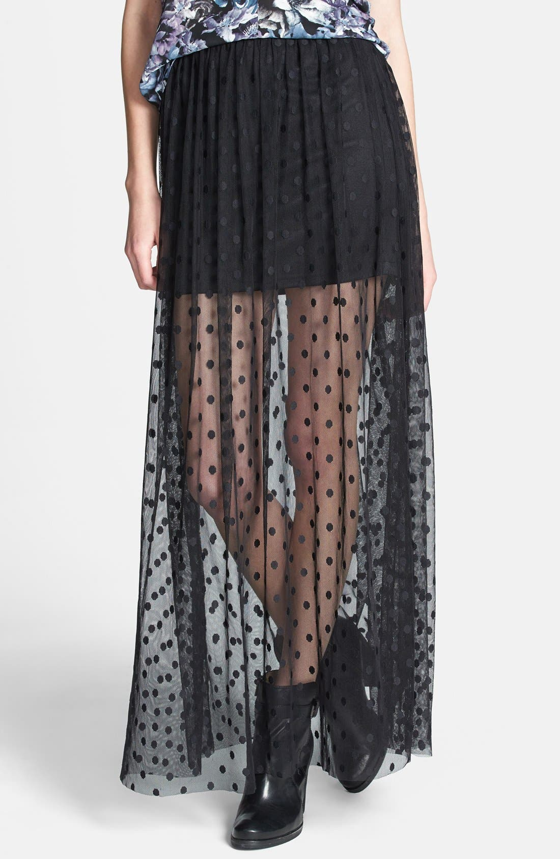 Main Image - ASTR Polka Dot Sheer Maxi Skirt (Nordstrom Exclusive)
