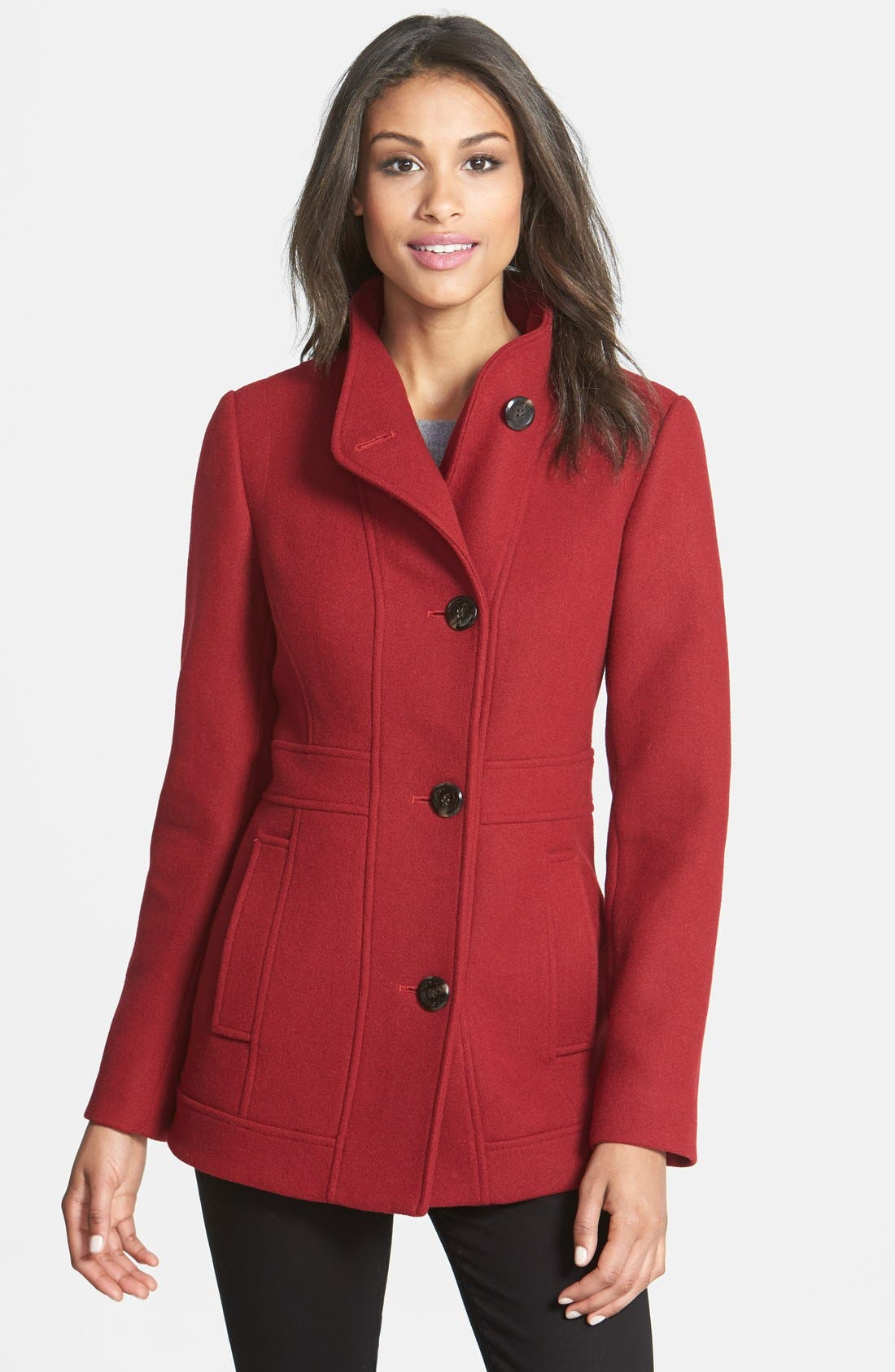 Alternate Image 1 Selected - Ellen Tracy Stand Collar Wool Blend Coat (Online Only)