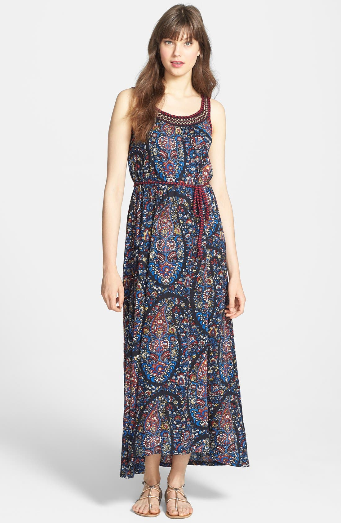 Alternate Image 1 Selected - Lucky Brand Embroidered Paisley Print Jersey Maxi Dress