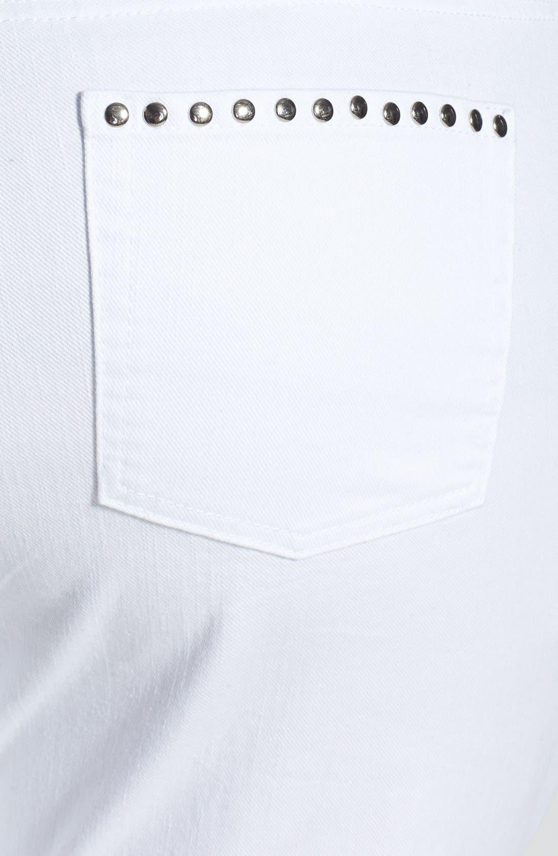 Alternate Image 3  - MICHAEL Michael Kors Rivet Stud Skinny Jeans (White) (Plus Size)