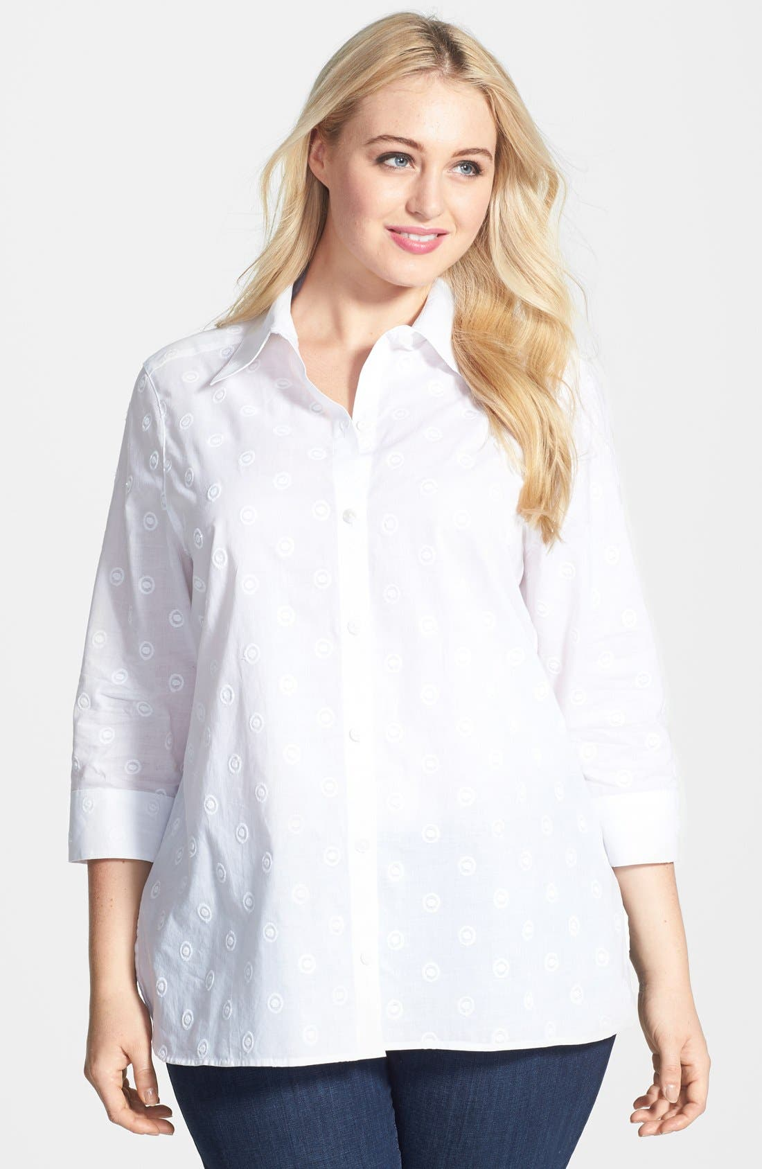 Main Image - Foxcroft Embroidered Shaped Cotton Shirt (Plus Size)