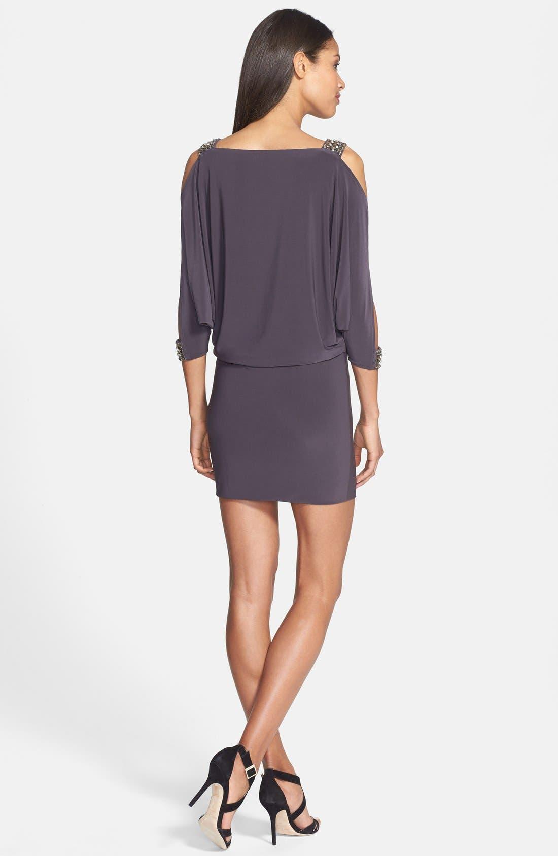 Alternate Image 2  - Betsy & Adam Embellished Cold Shoulder Jersey Dress
