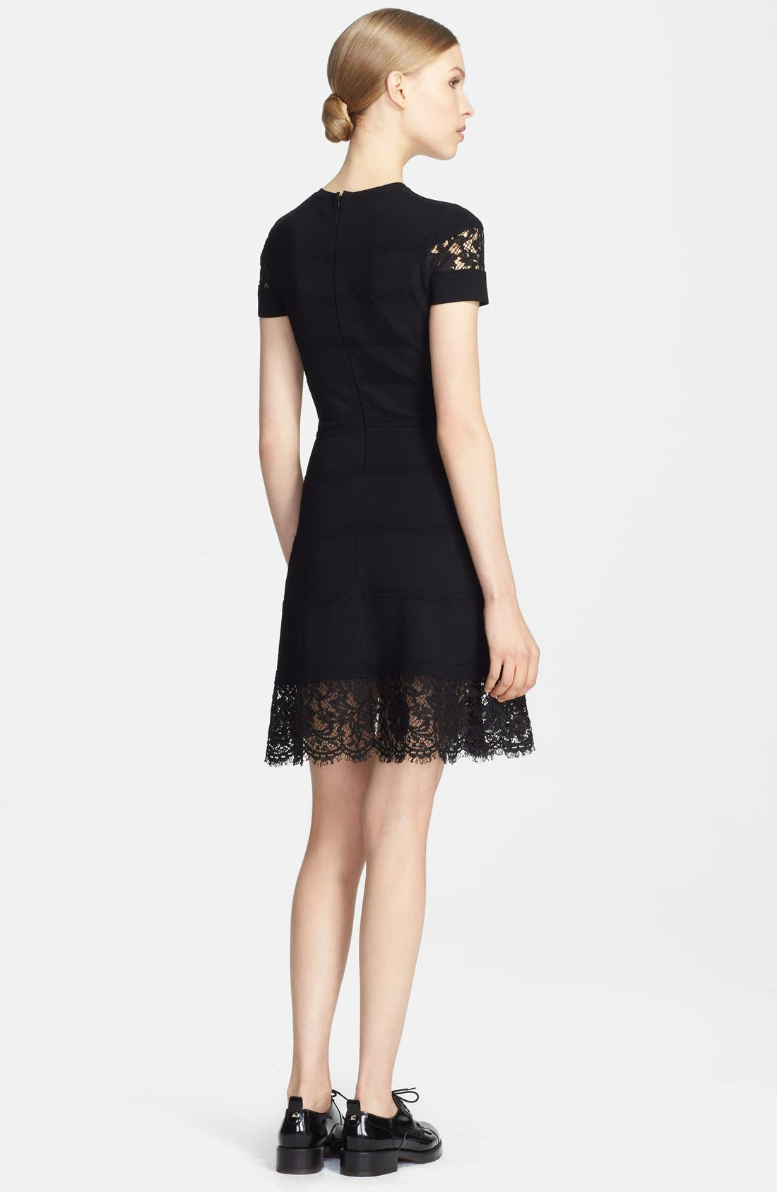 Alternate Image 2  - Valentino Lace Inset Ottoman Stripe Fit & Flare Dress