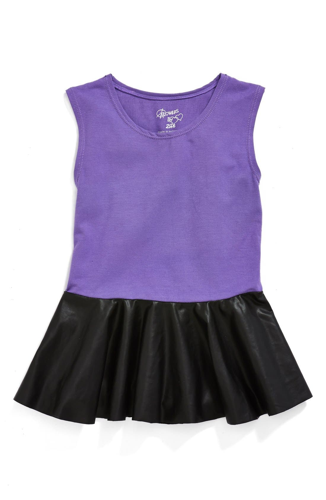 Main Image - Flowers by Zoe Faux Leather Peplum Top (Big Girls) (Online Only)