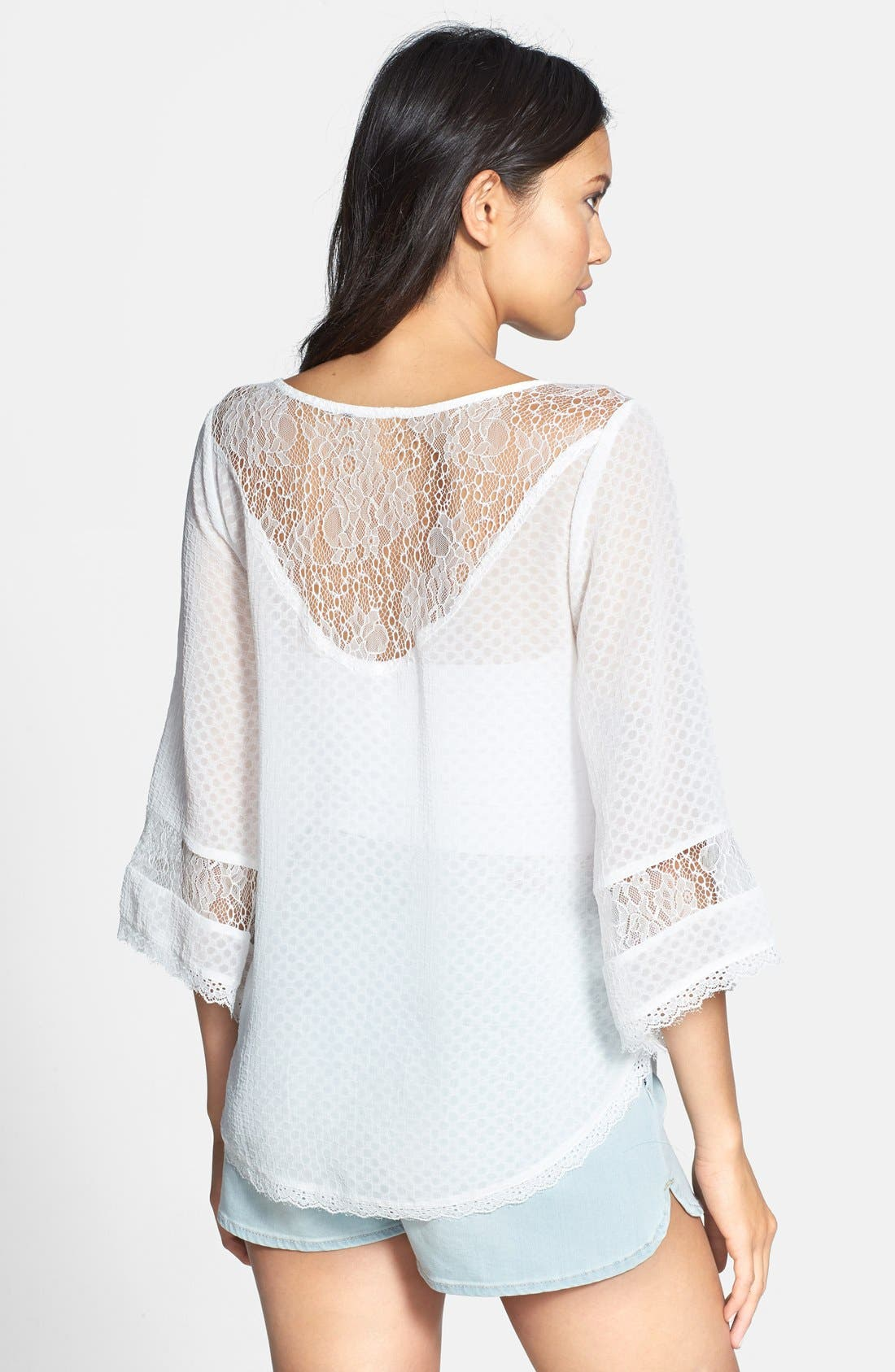 Alternate Image 2  - ASTR Lace Inset Textured Top