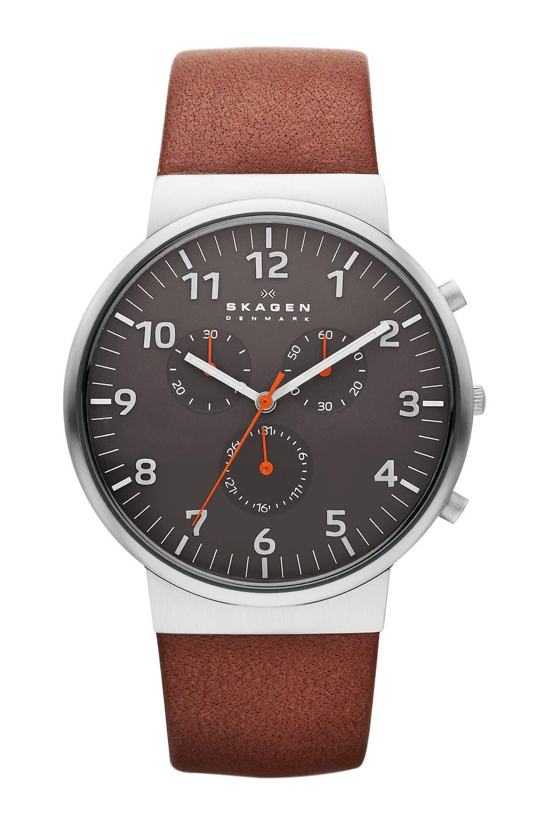 Main Image - Skagen 'Ancher' Round Chronograph Leather Strap Watch, 40mm