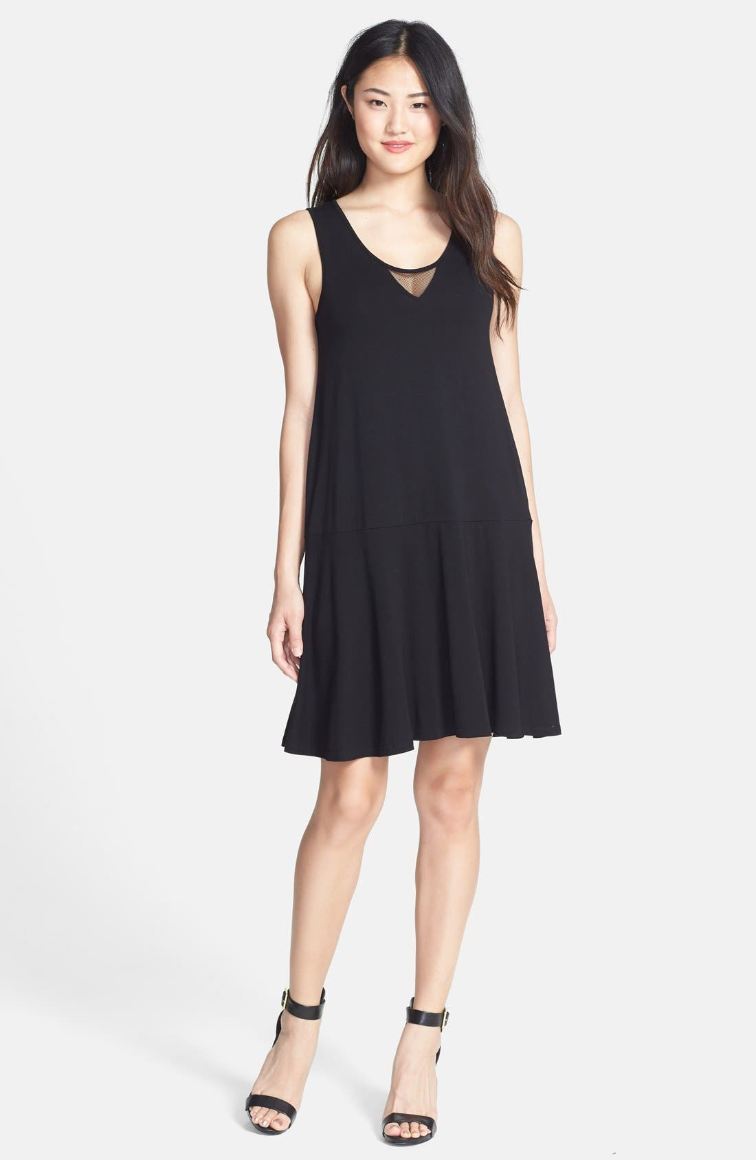 Main Image - Vince Camuto Mesh Inset Flare Tank Dress