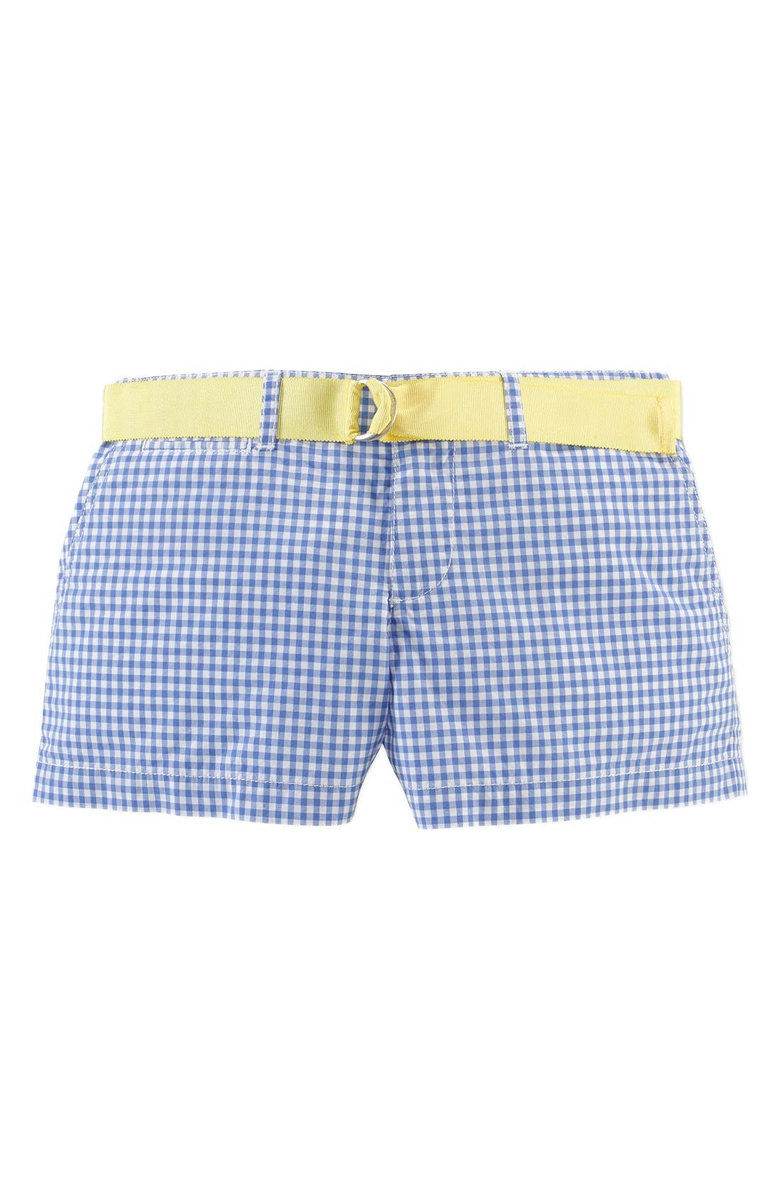 Alternate Image 1 Selected - Ralph Lauren Gingham Cotton Poplin Shorts (Big Girls)