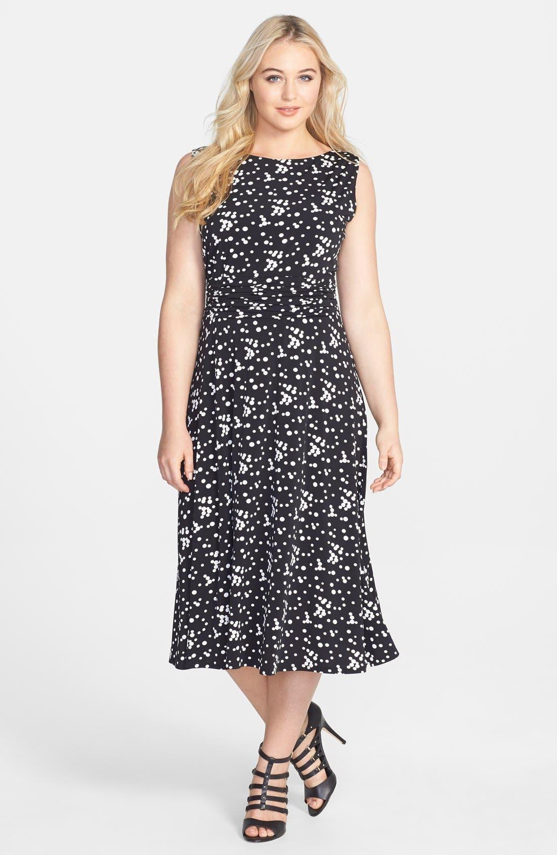 Main Image - Jessica Howard Print Ruched Waist Stretch Knit Midi Dress (Plus Size)