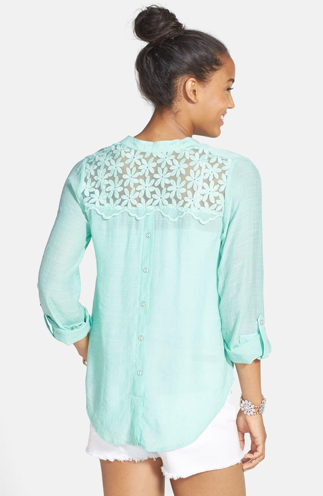Alternate Image 2  - Blu Pepper Embroidered Back Button Shirt (Juniors)